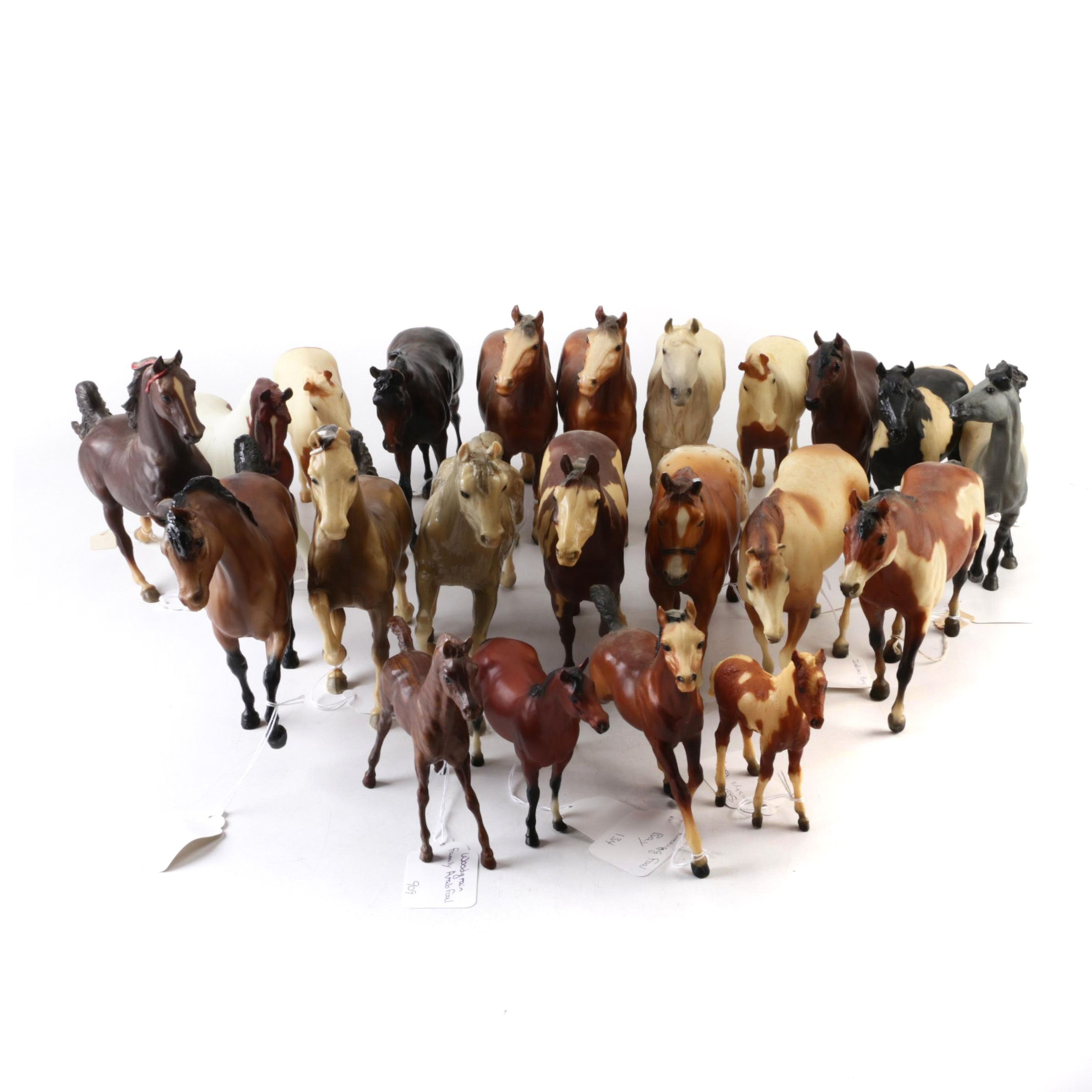 Horse Figurines Including Bay, Pinto, Appaloosa, and Clydesdale