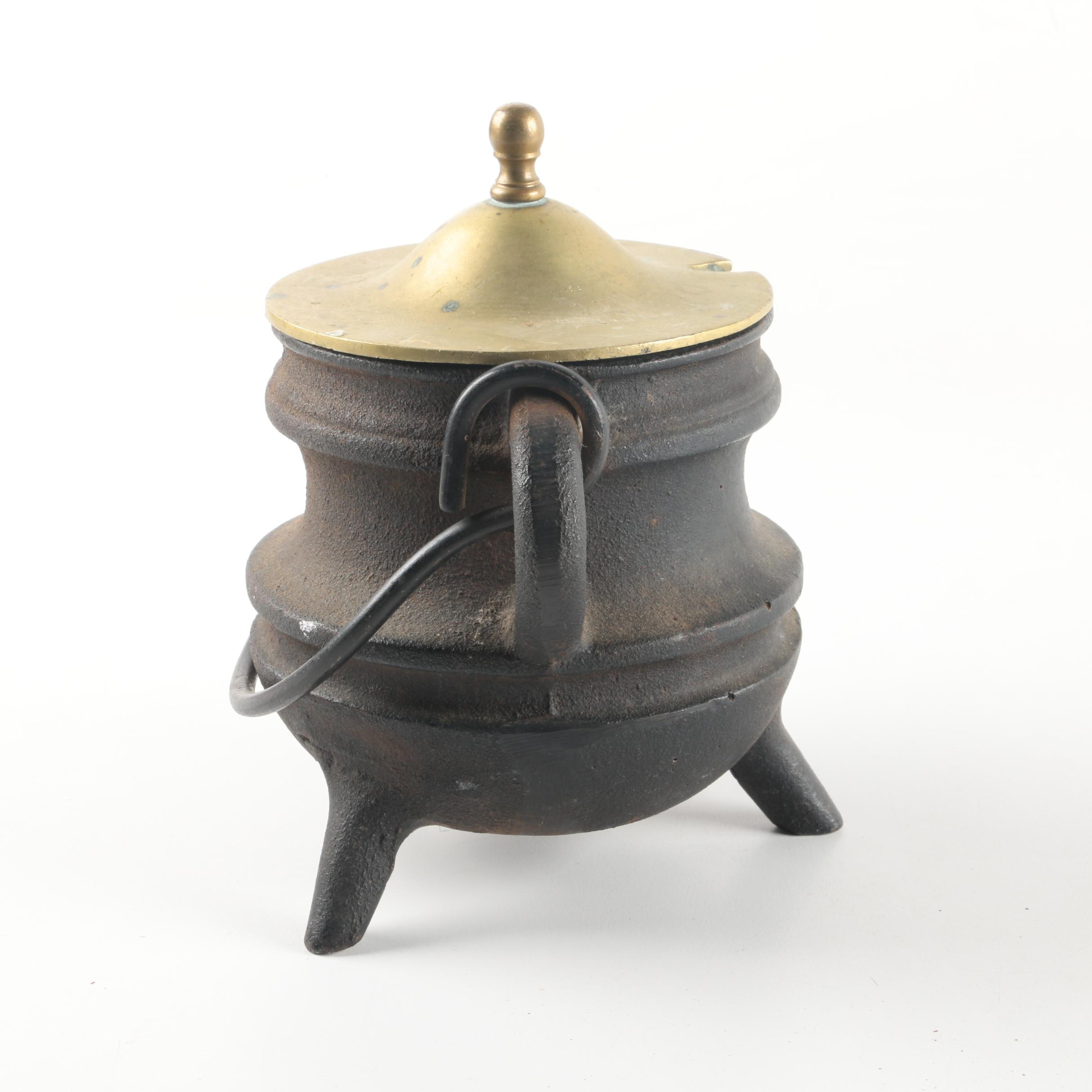 Cast Iron and Brass Footed Fire Starter Pot