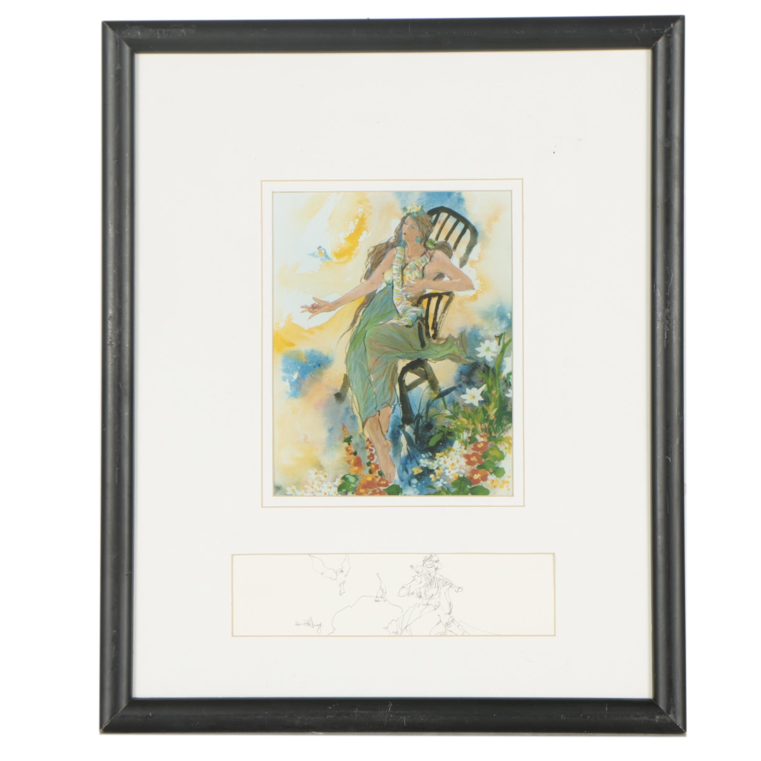 David Wong Giclée Reproduction Print with Graphite Drawing