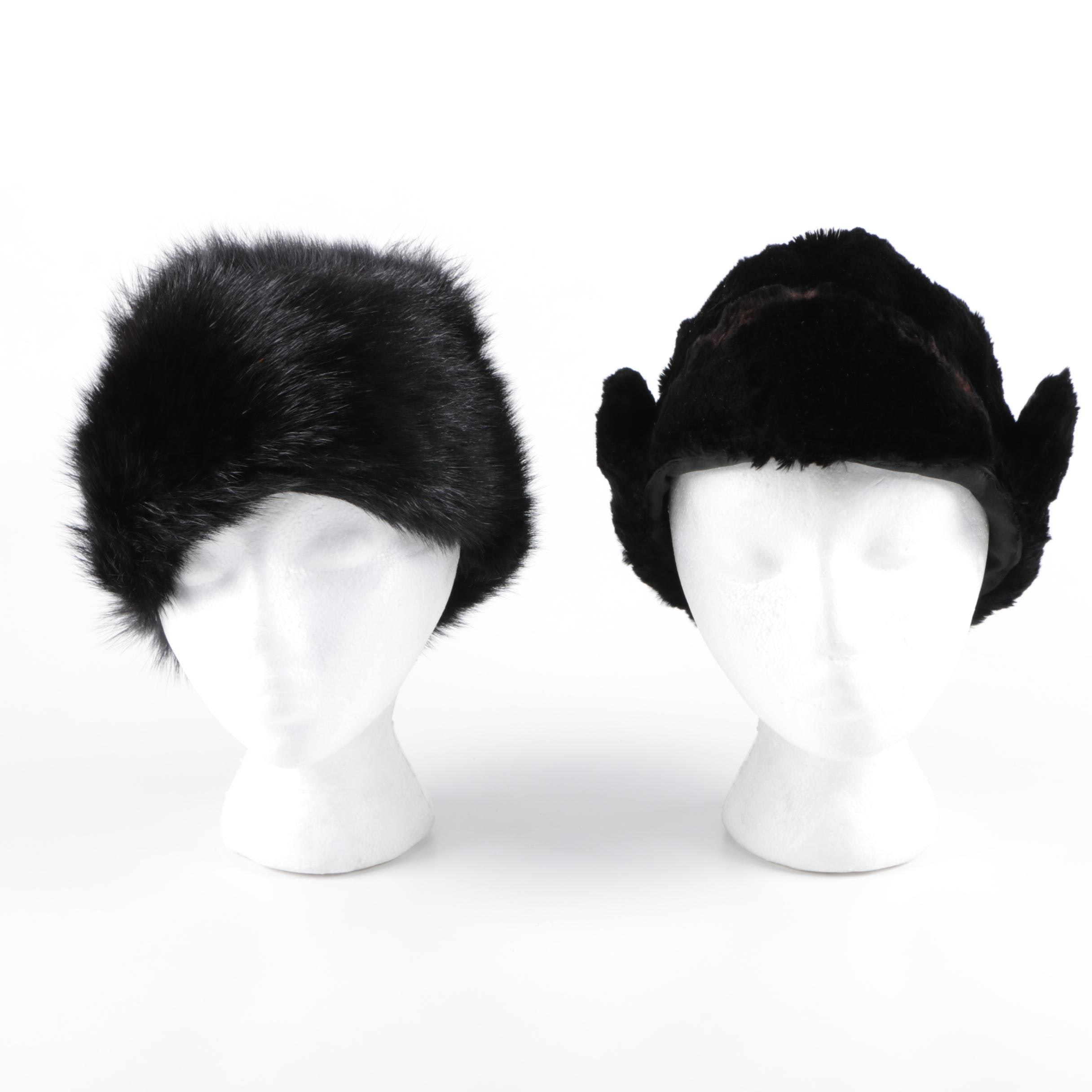 Dyed Black Sheared Beaver Fur and Dyed Black Fox Fur Hats