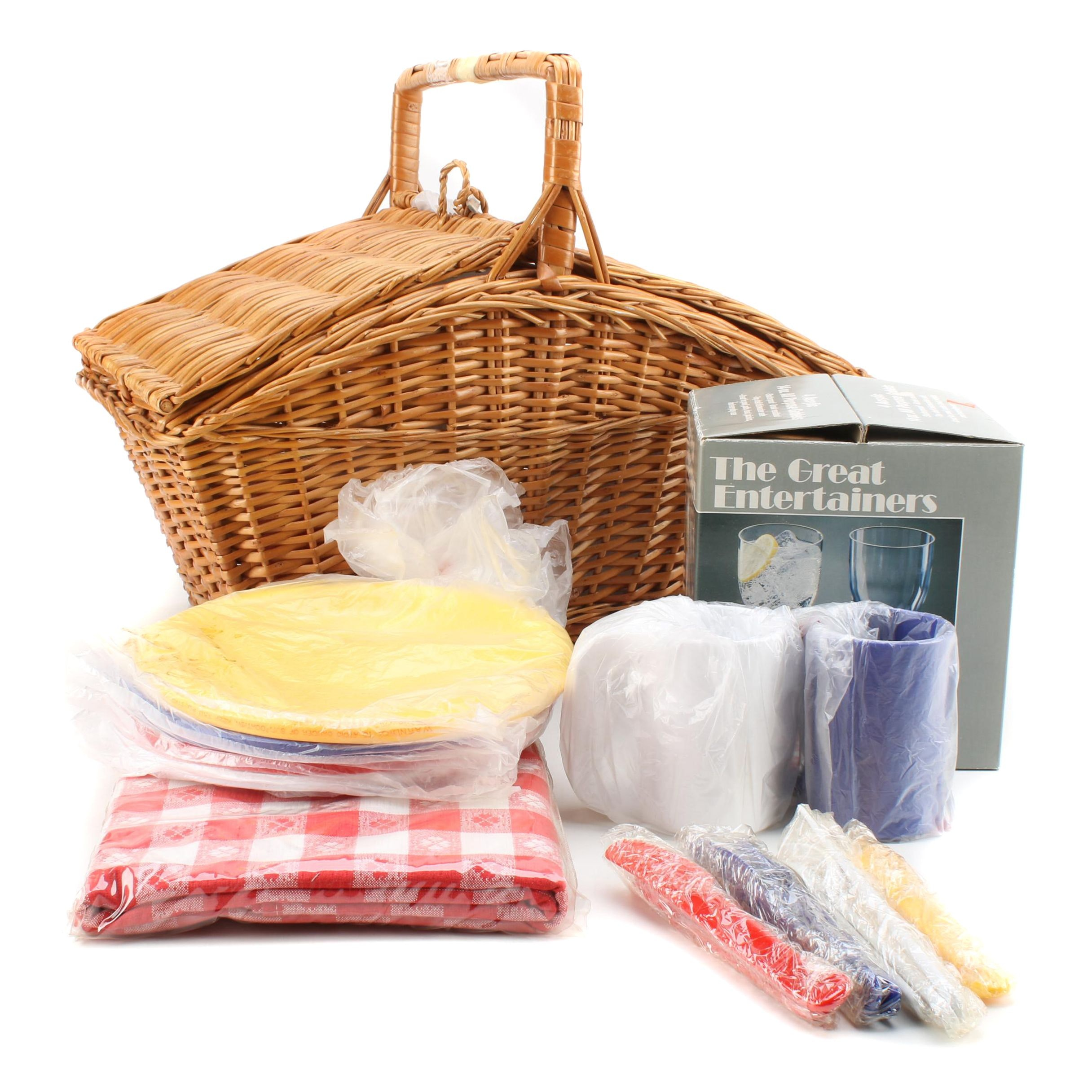 Picnic Basket with Picnic Accessories