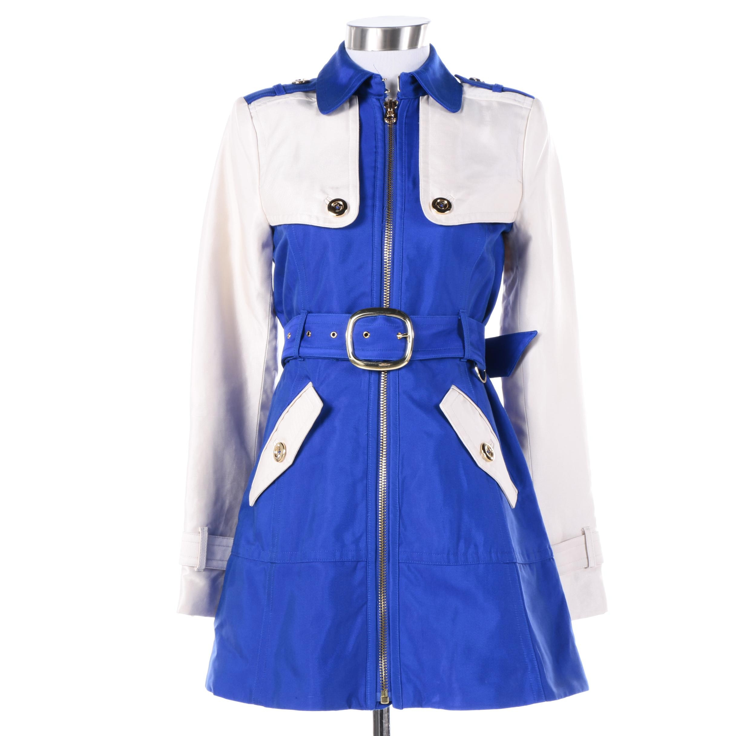 Women's Juicy Couture Blue and White Cotton Blend Jacket
