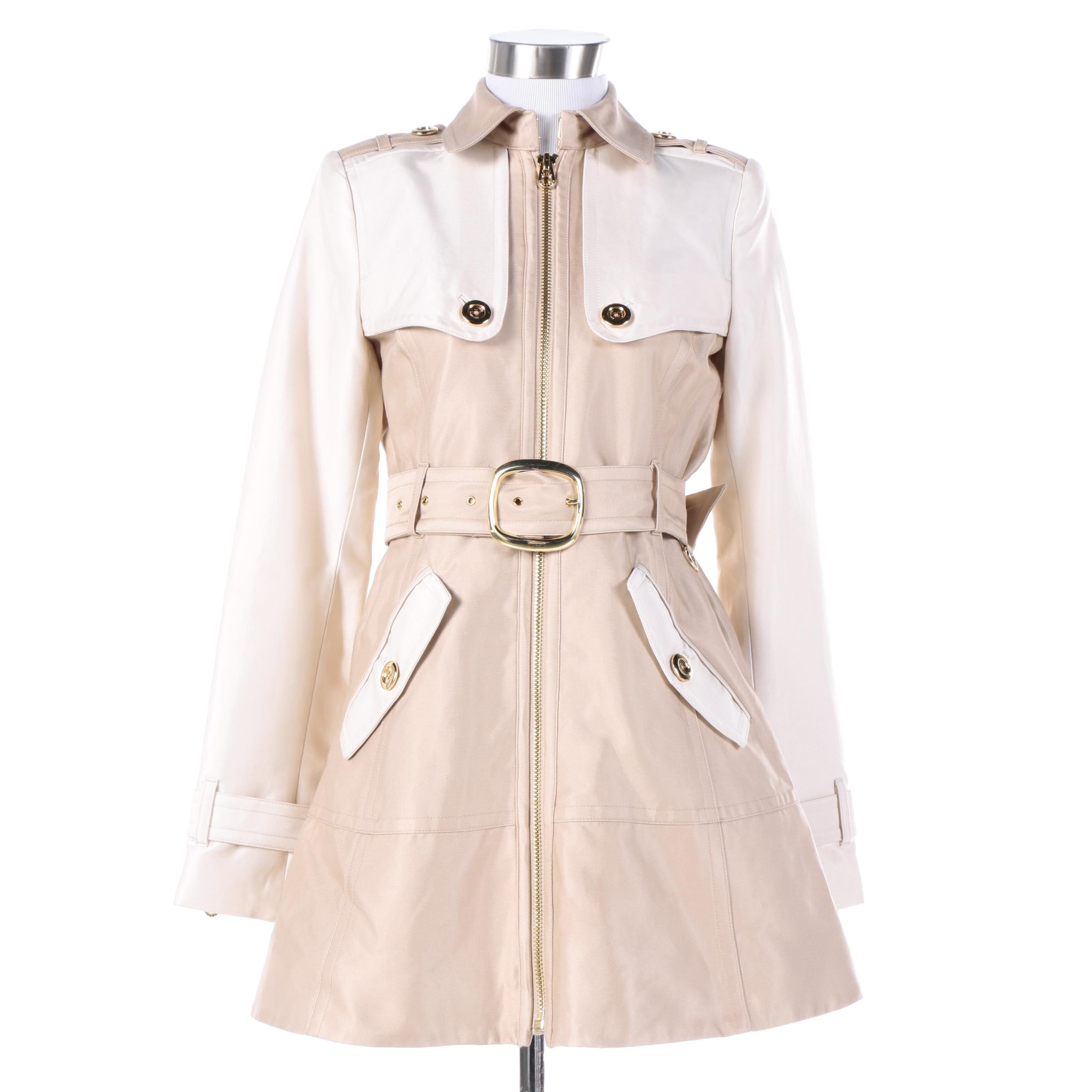 Women's Juicy Couture Beige and Off-White Cotton Blend Jacket
