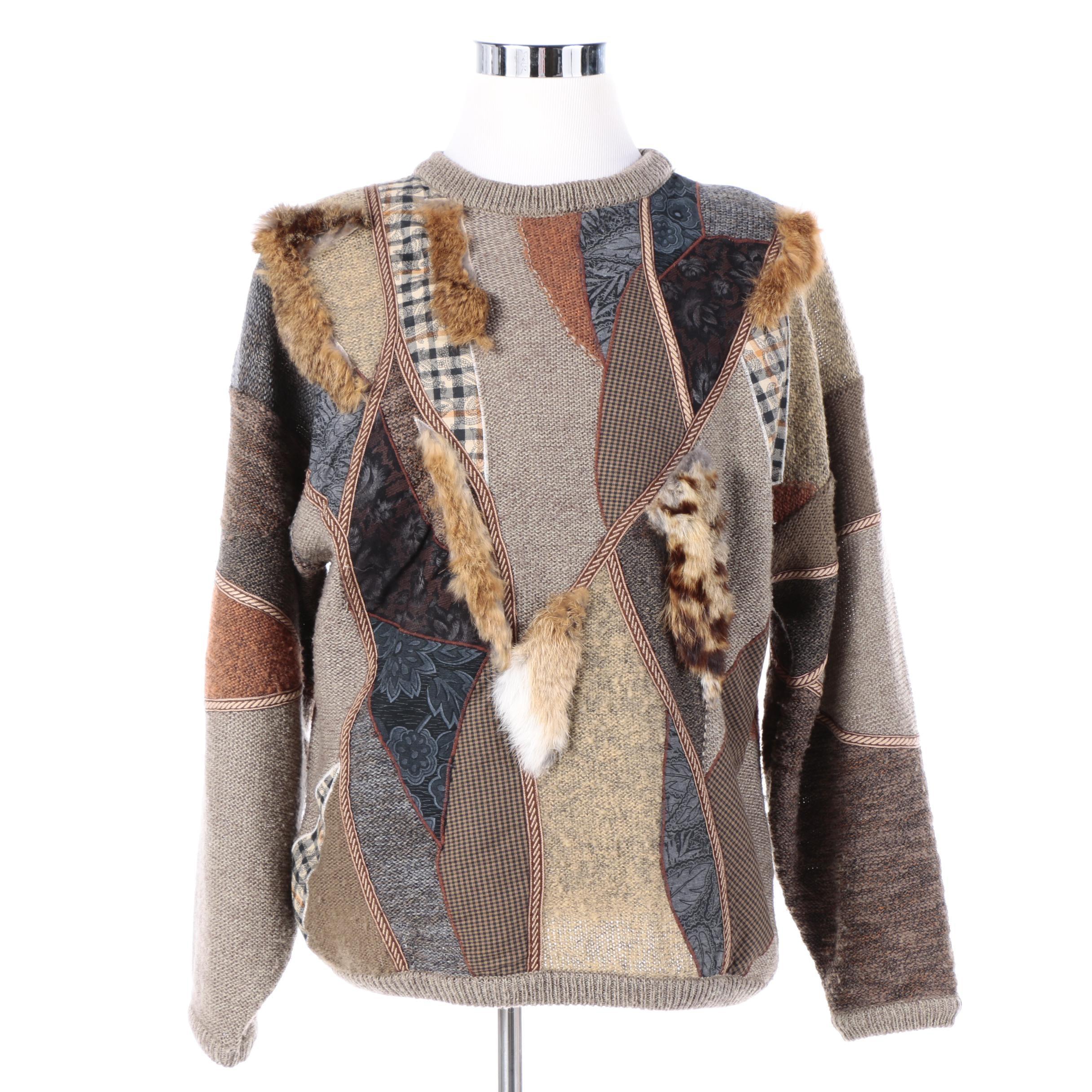 Mariea Kim Sweater with Rabbit Fur Accents