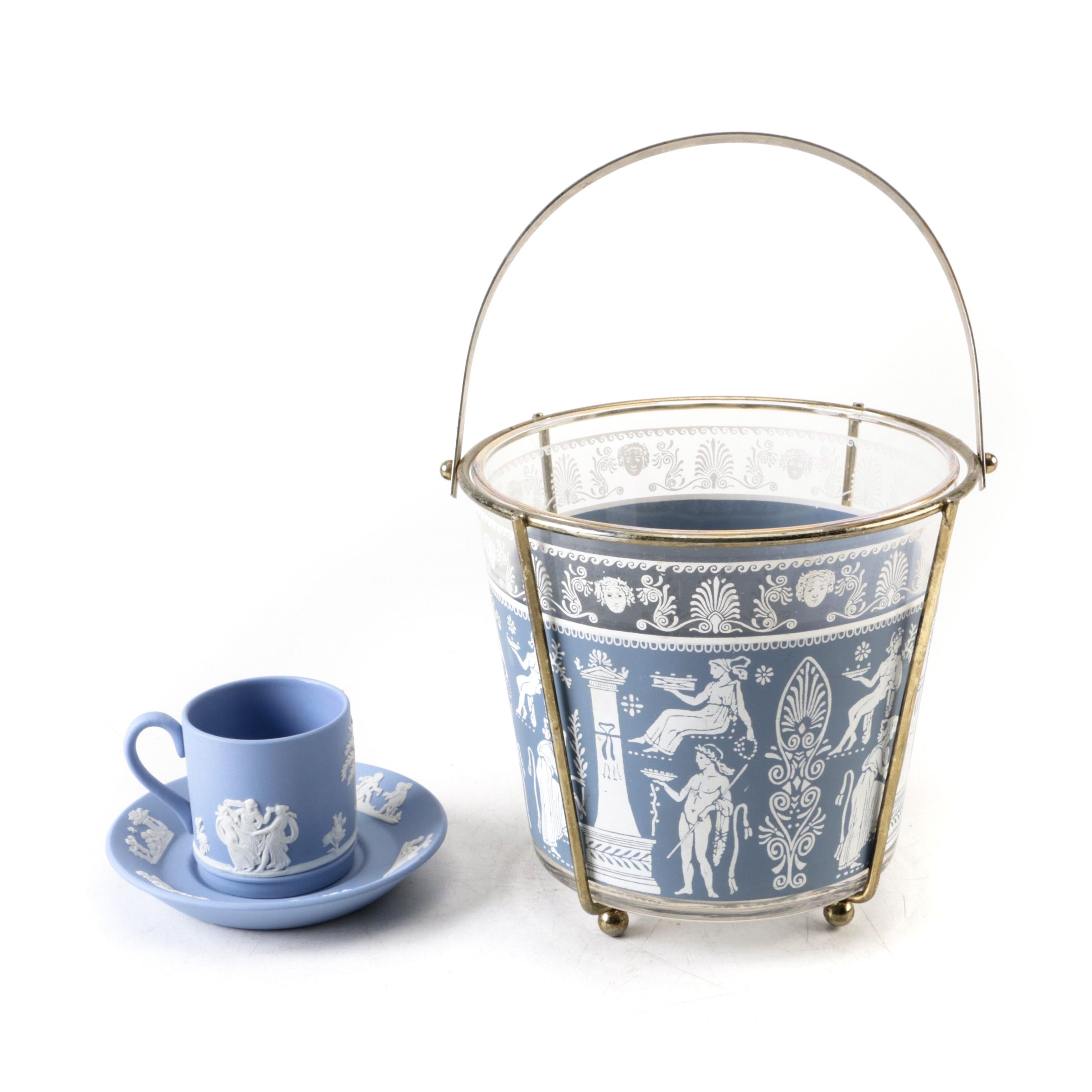 Wedgwood Jasperware Cup and Saucer with Brass and Glass Basket