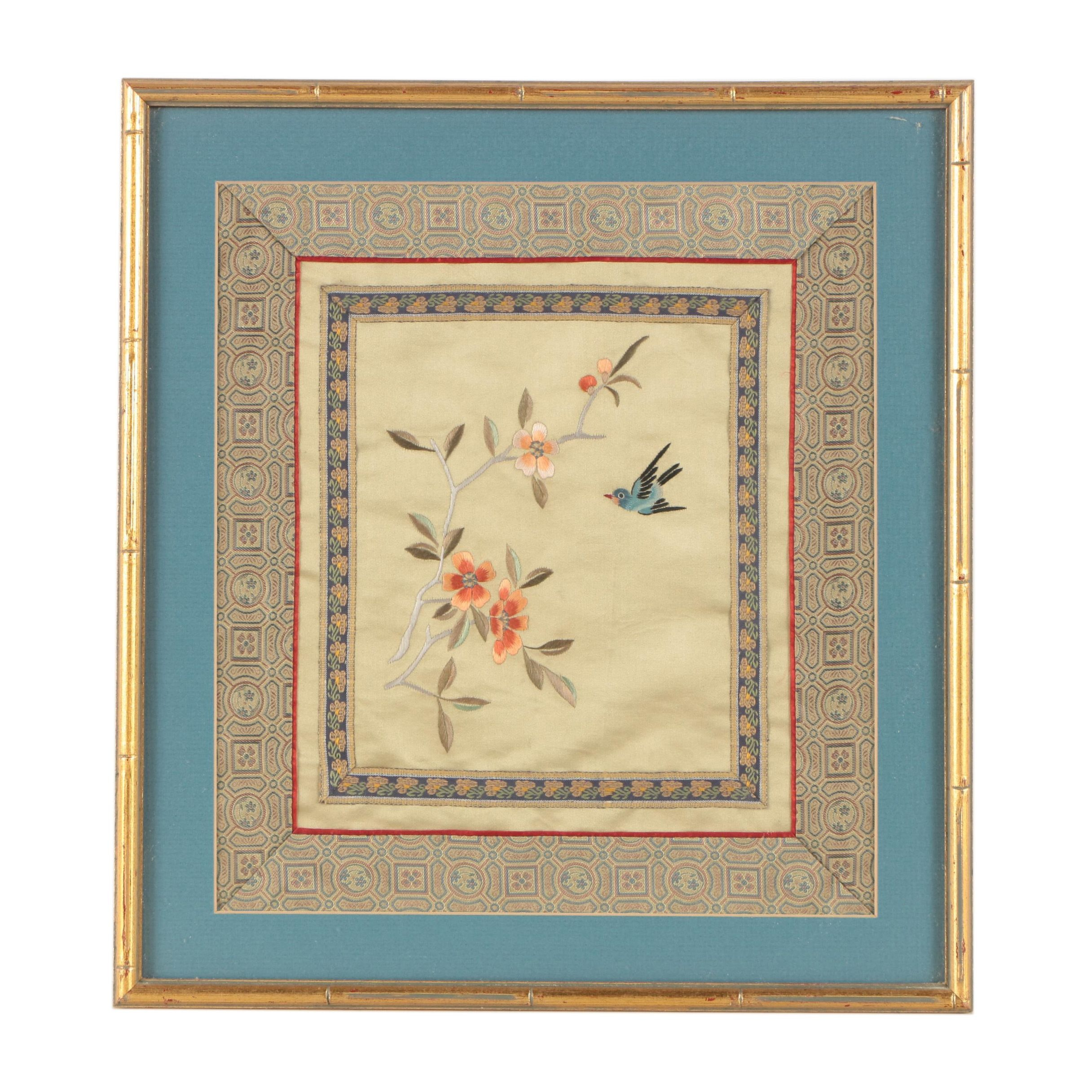 Chinese Embroidered Silk Textile of Bird