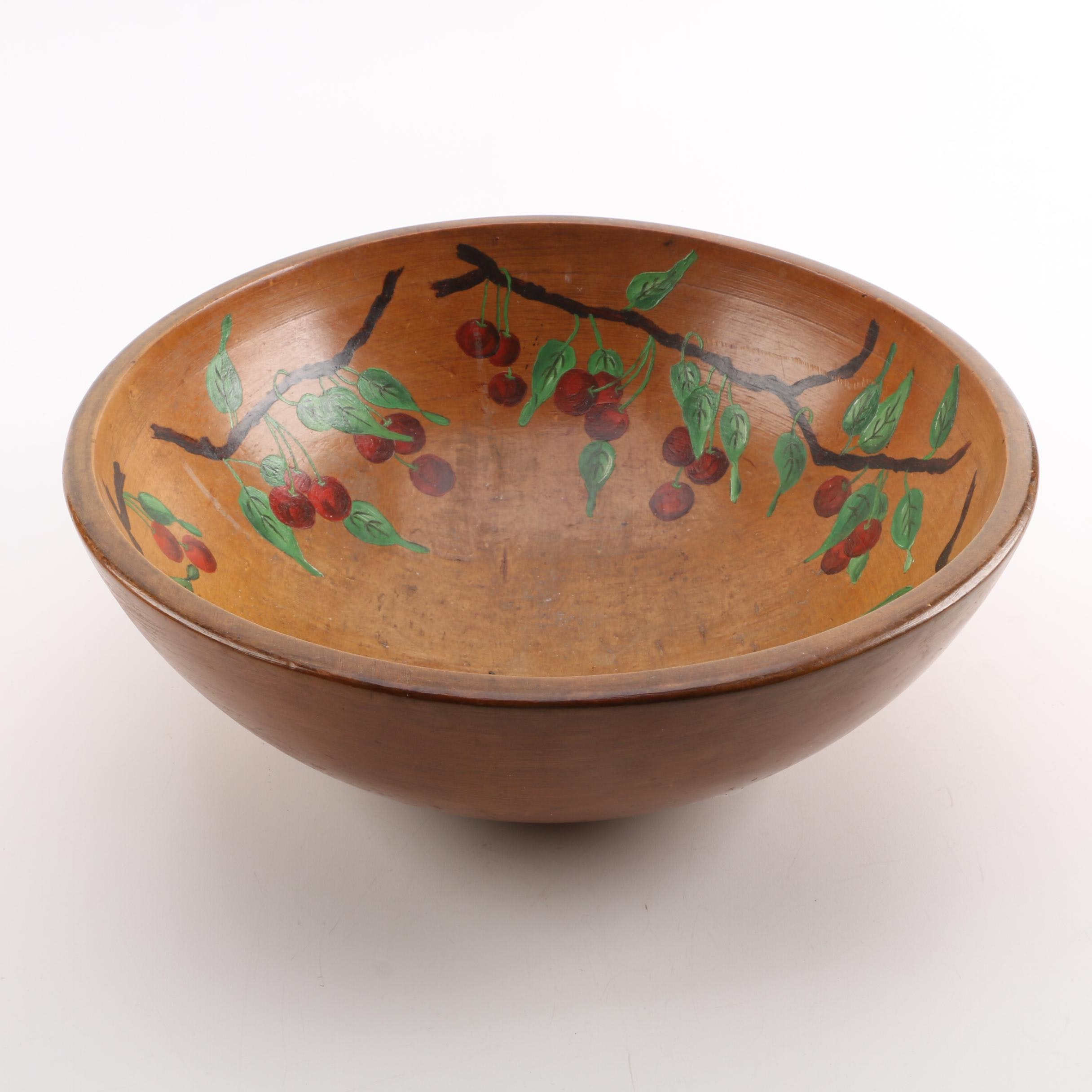 Munising Hand-Painted Turned Wooden Dough Bowl