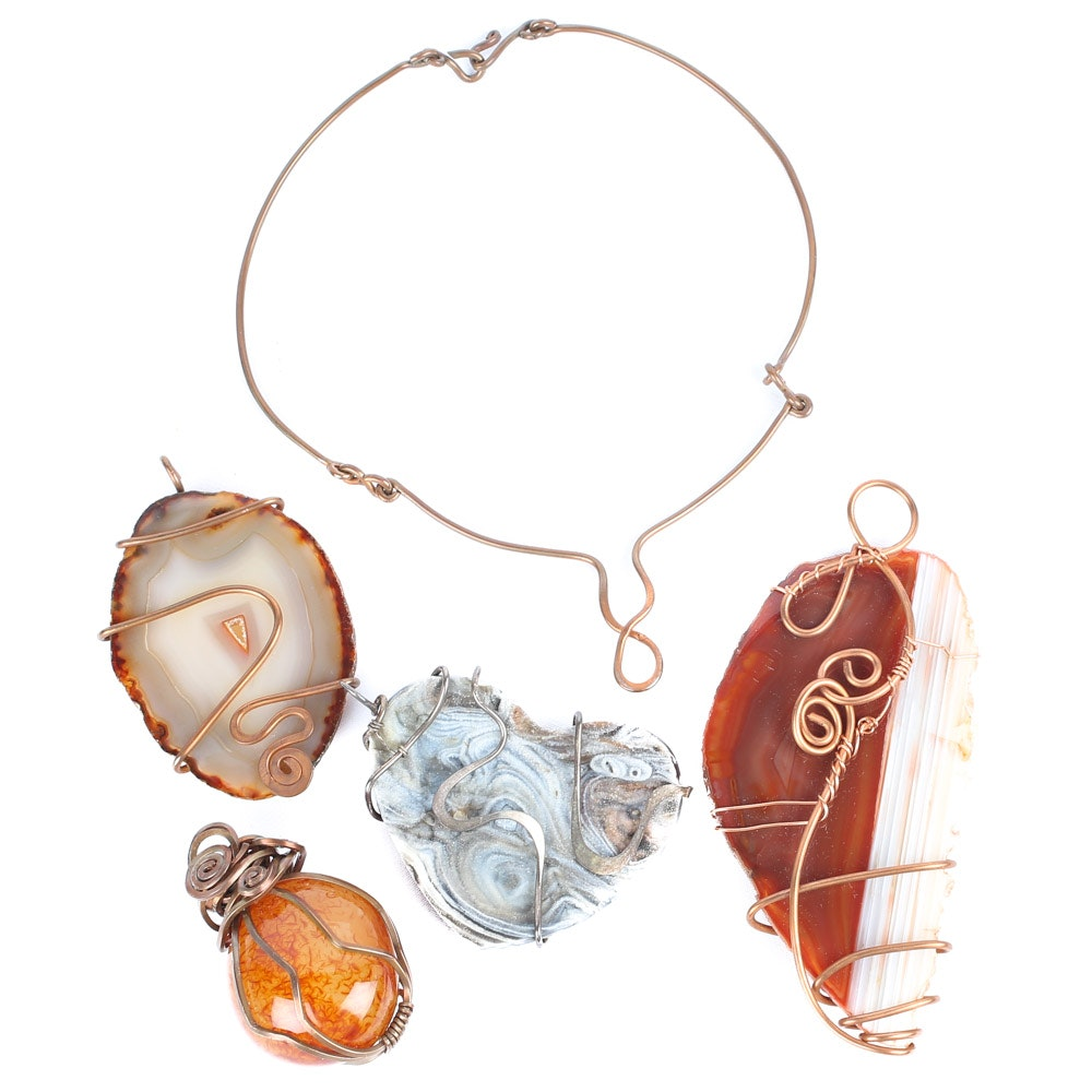Copper, Stone, Agate, and Art Glass Necklace and Pendants
