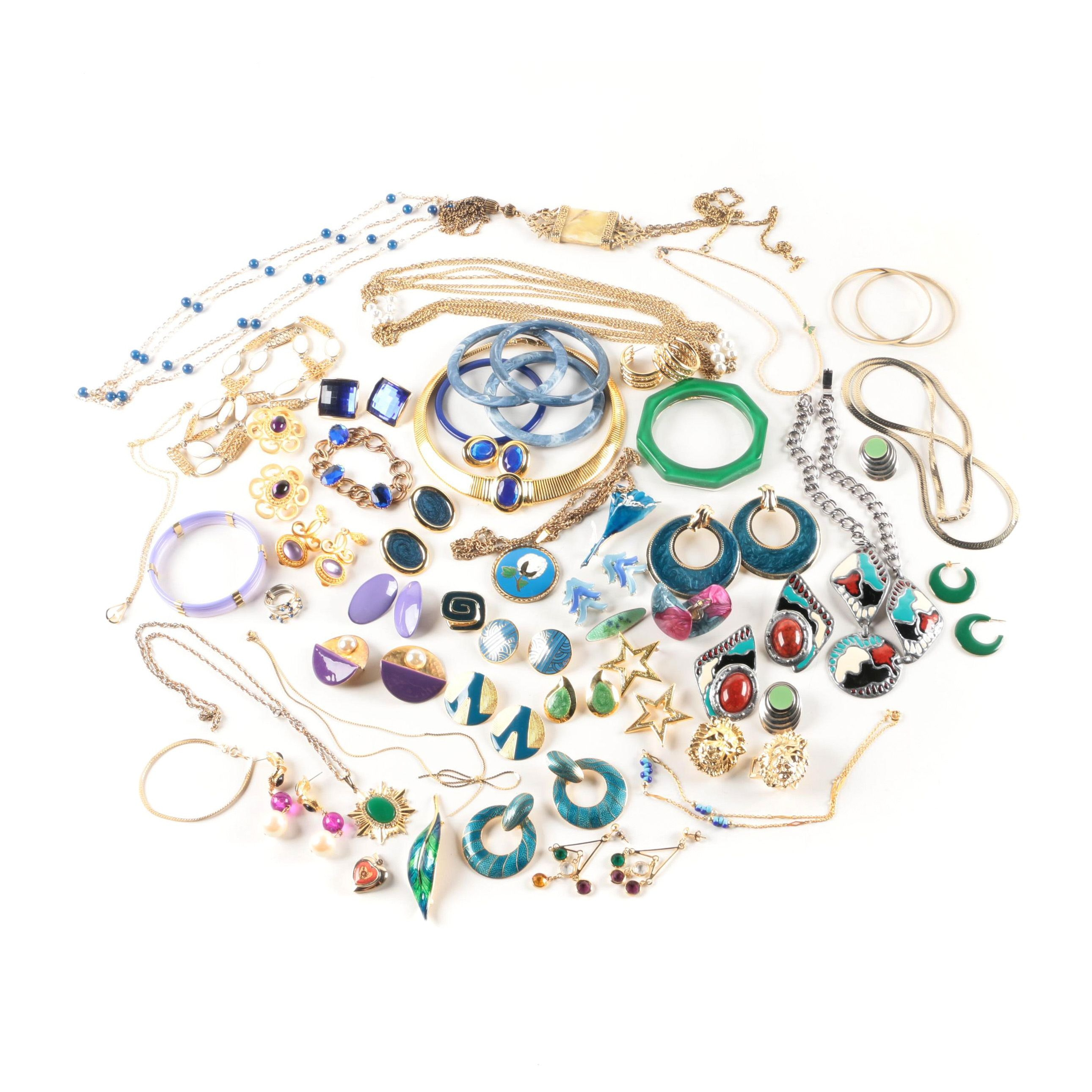 Assorted Enamel, Foilback Composite and Imitation Pearl Costume Jewelry
