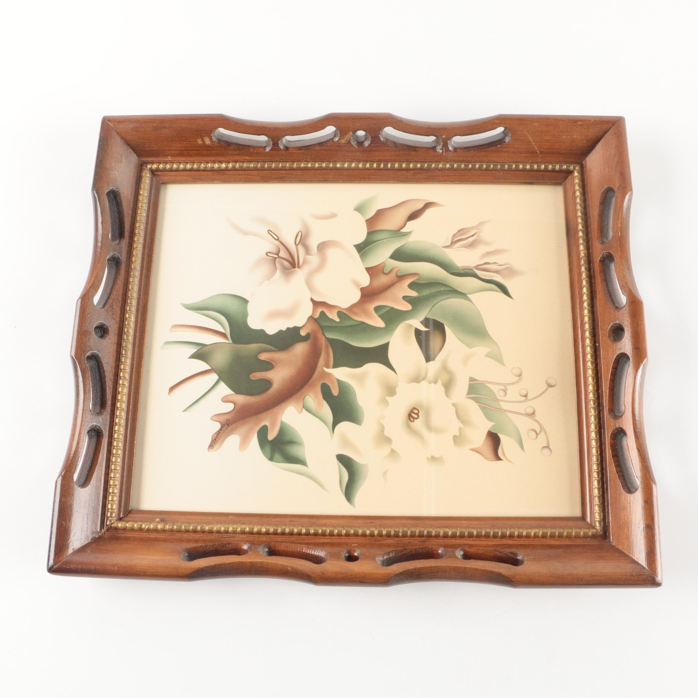 Vintage Turner Print of Flowers in Pierced Frame