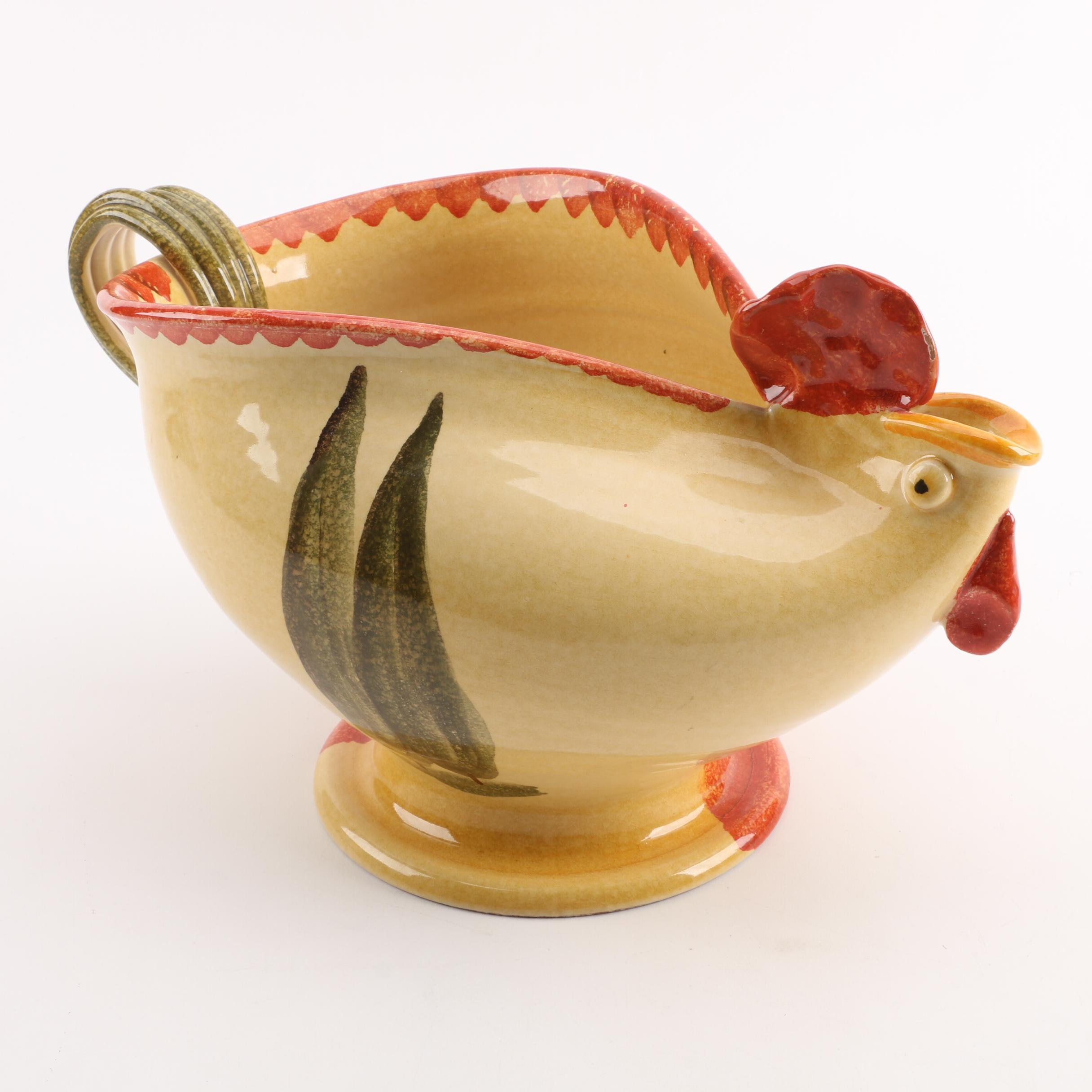 Hand-Painted Italian Ceramic Rooster Pitcher