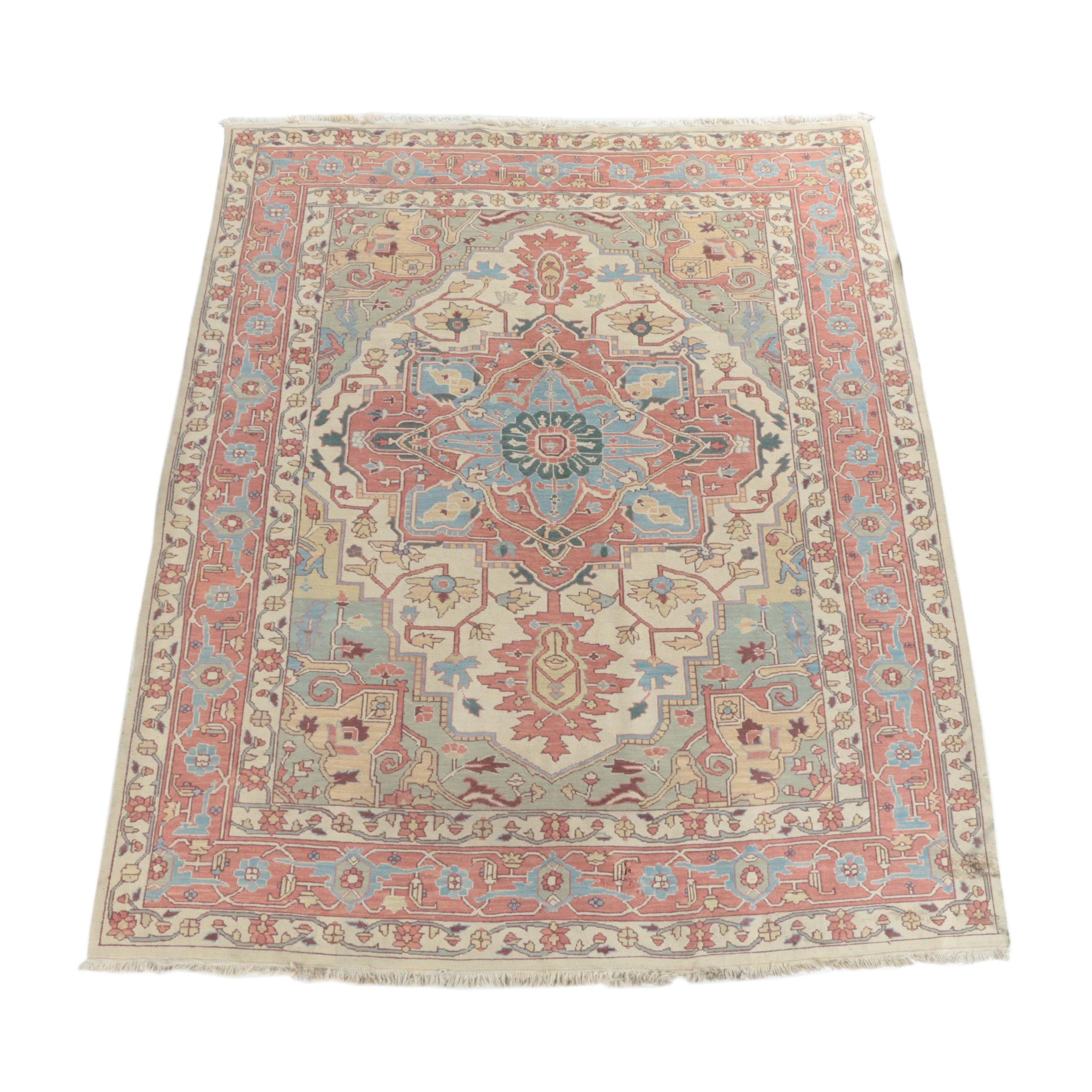 Handwoven Persian Heriz Serapi Soumak Rug