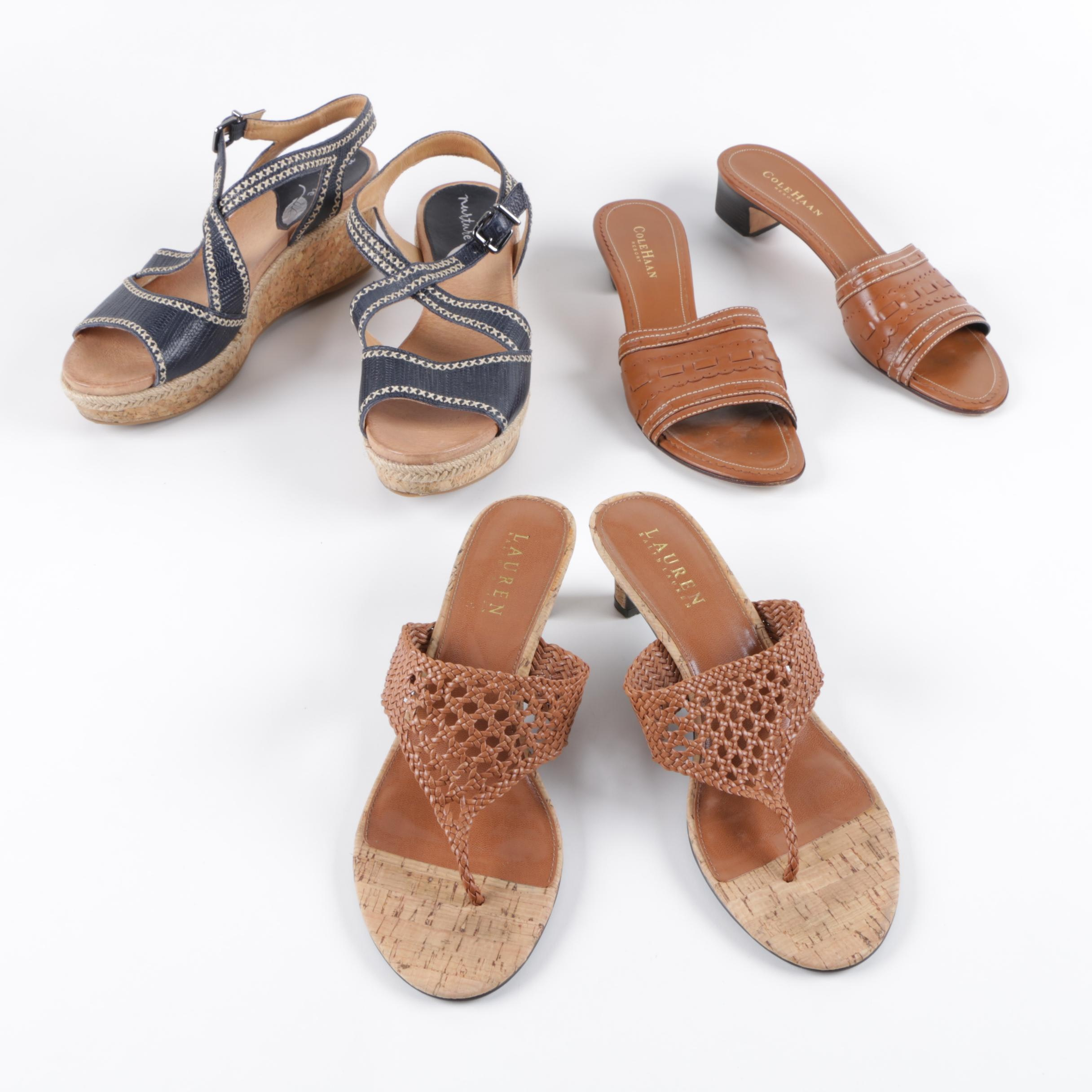 Women's Leather Sandals Including Cole Haan