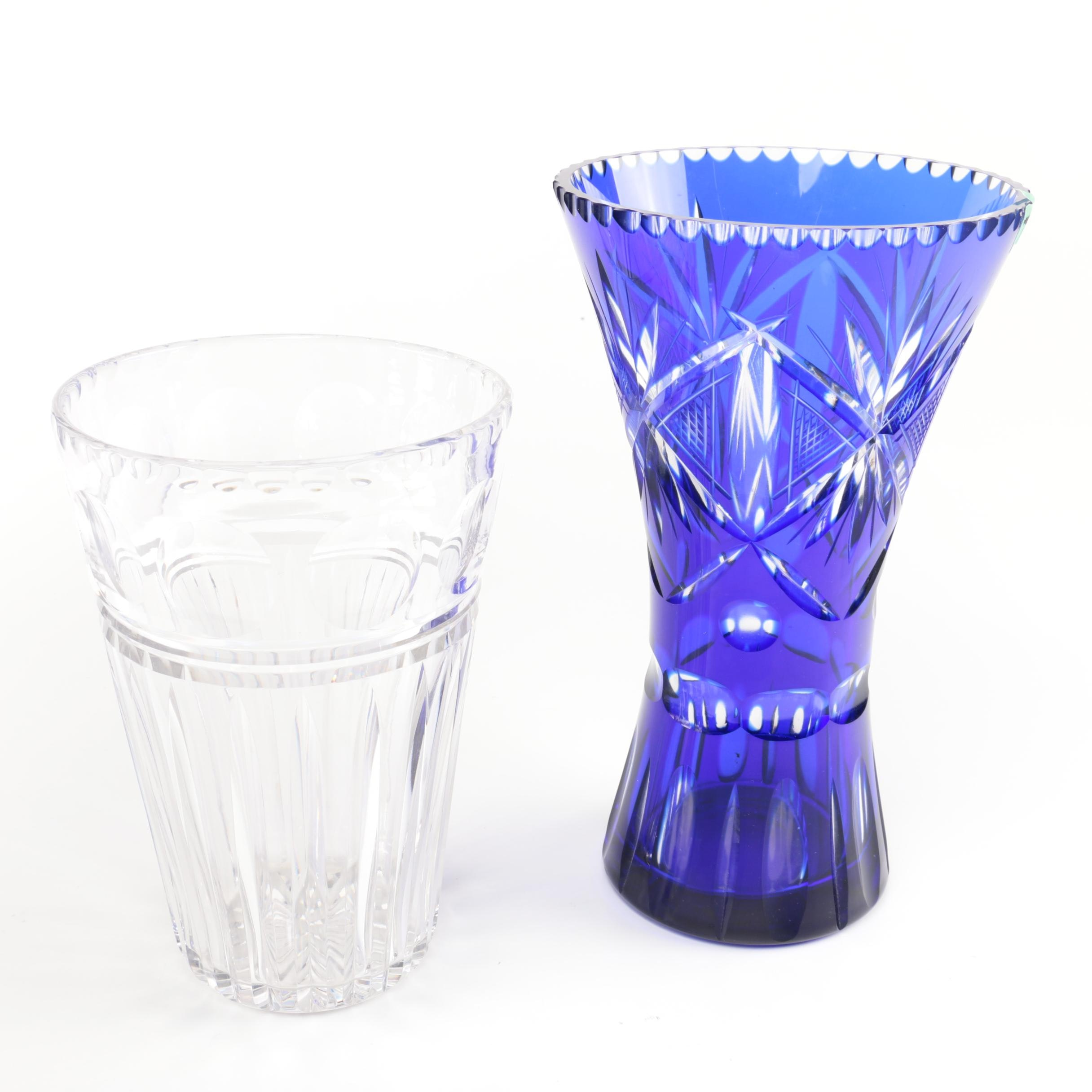 Crystal Vases including Bohemian Cobalt Cased Cut to Clear