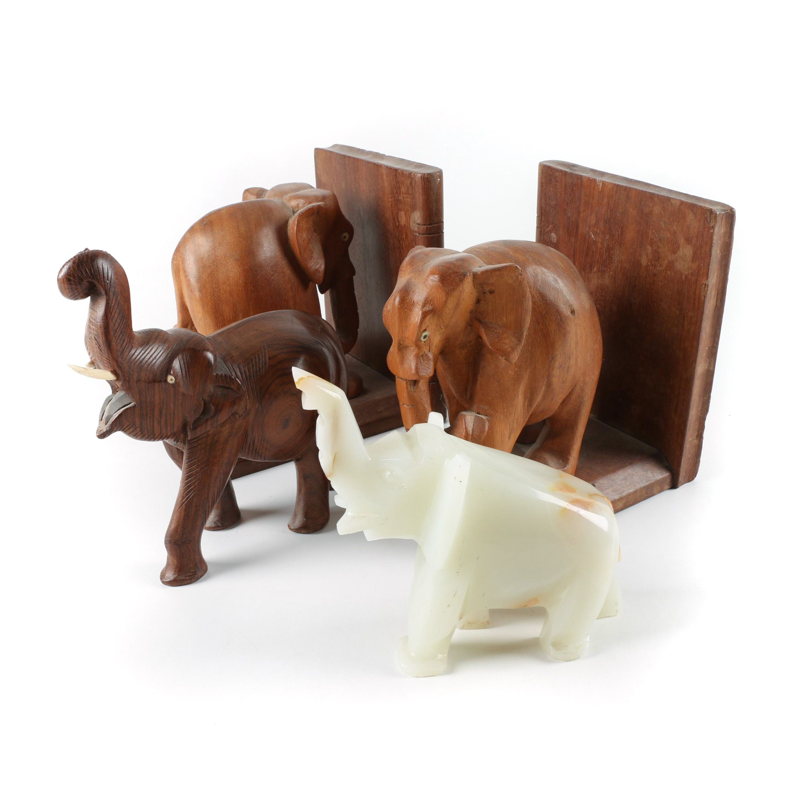 Wood and Calcite Elephant Bookends and Figurines