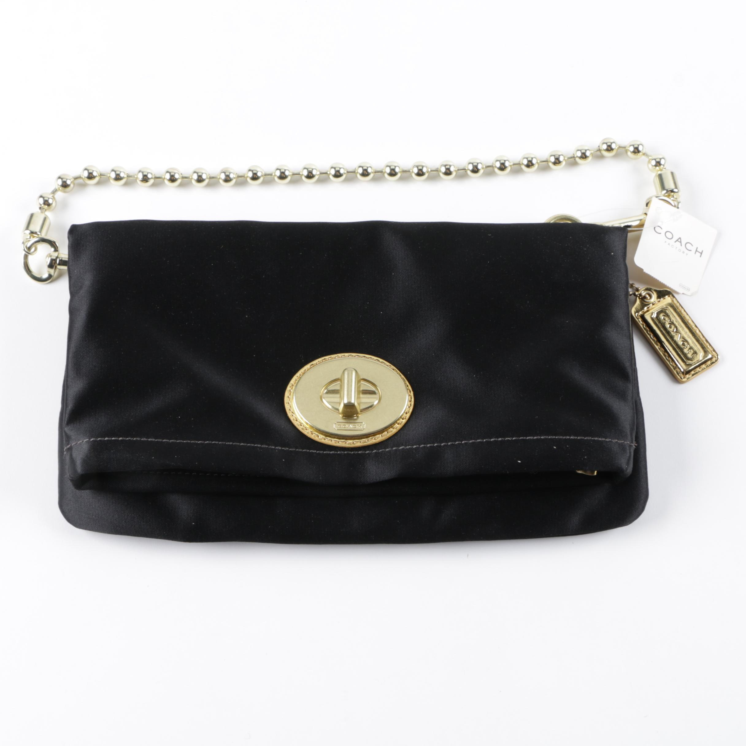 Coach Amanda Black Satin Foldover Flap Clutch