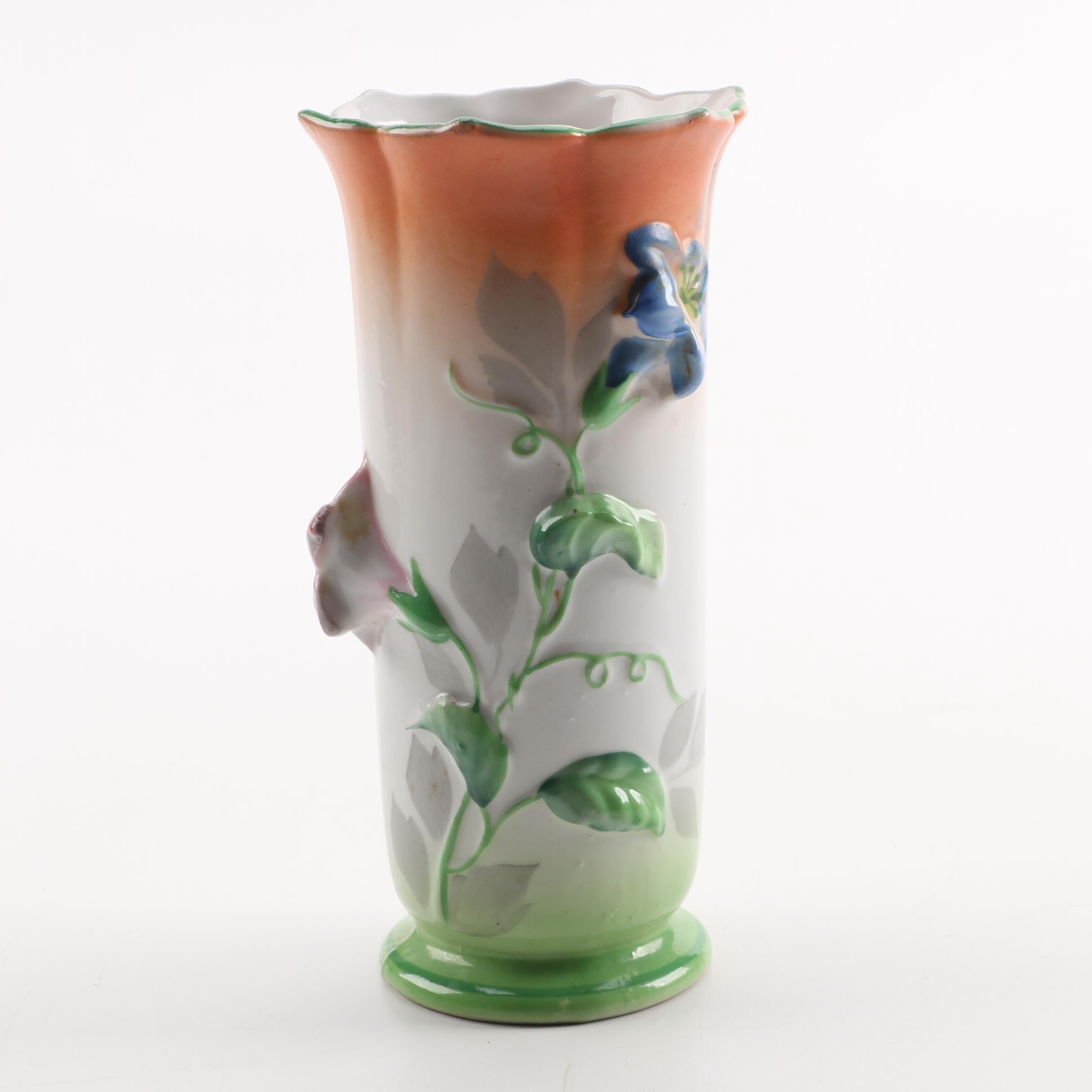 Vintage Hand-Painted Japanese Trico Vase