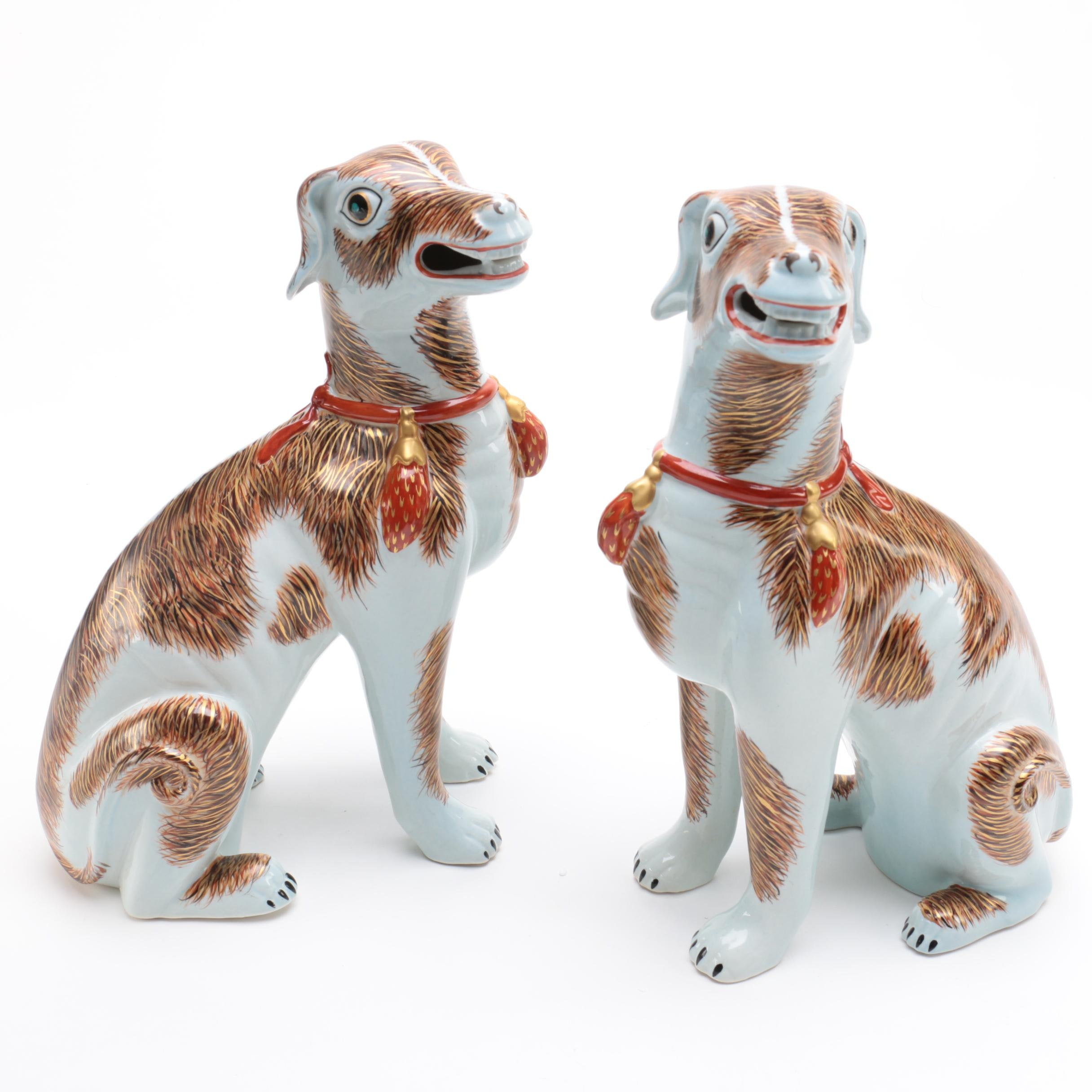 Lowestoft Reproduction Dog Figurines by Mottahedeh