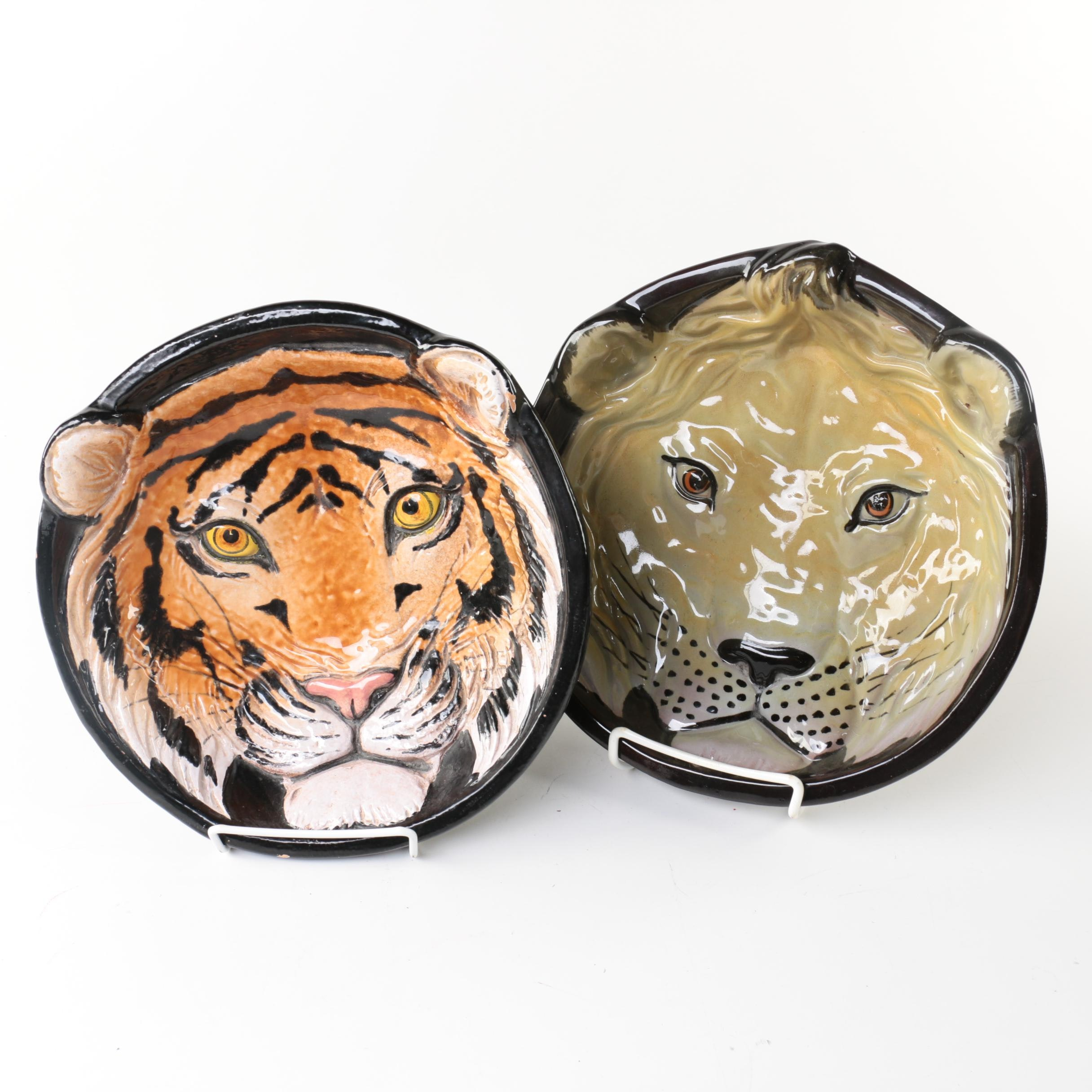 Italian Pottery Tiger and Lion Face Bowls