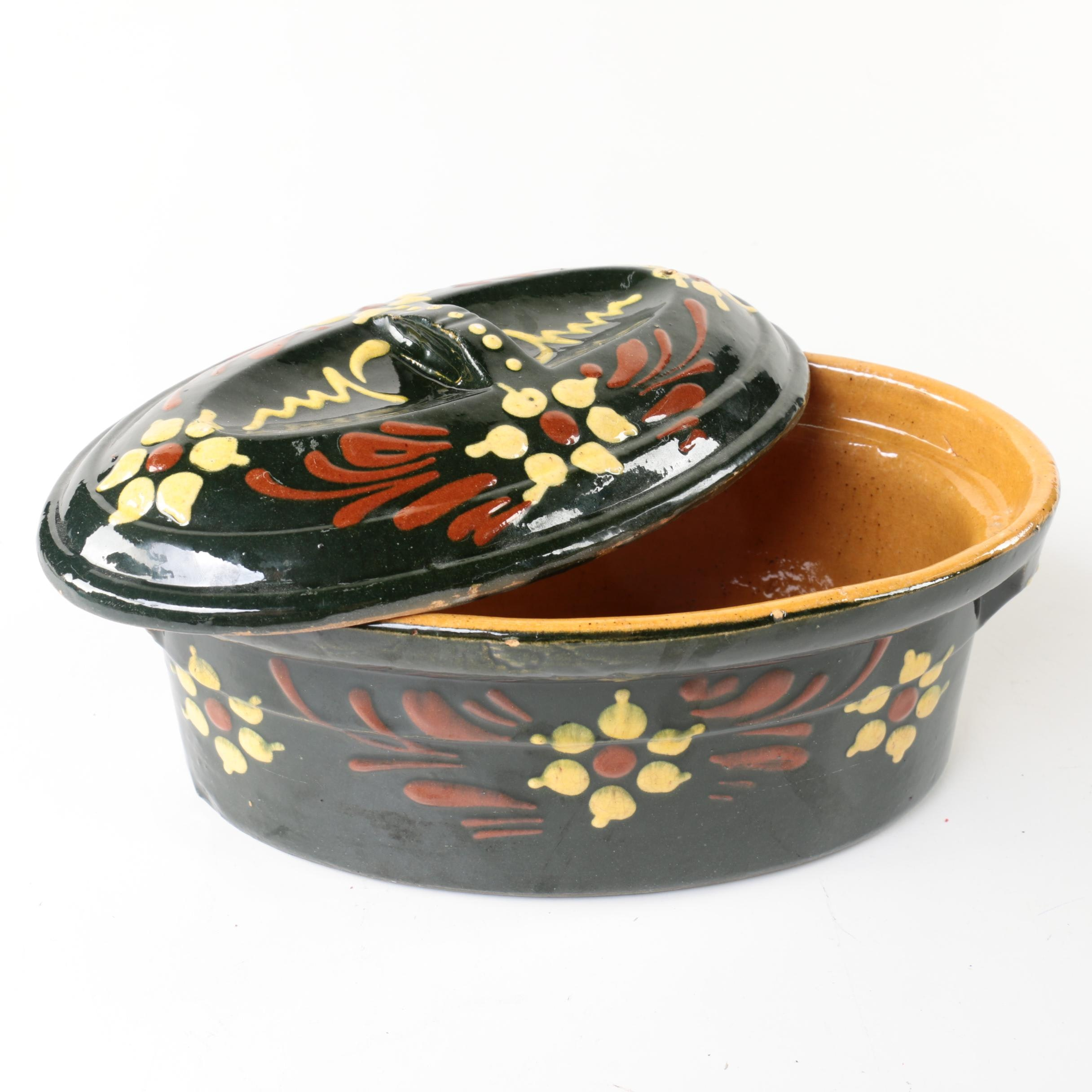 Vintage Yellow Ware Dutch Oven with Floral Pattern