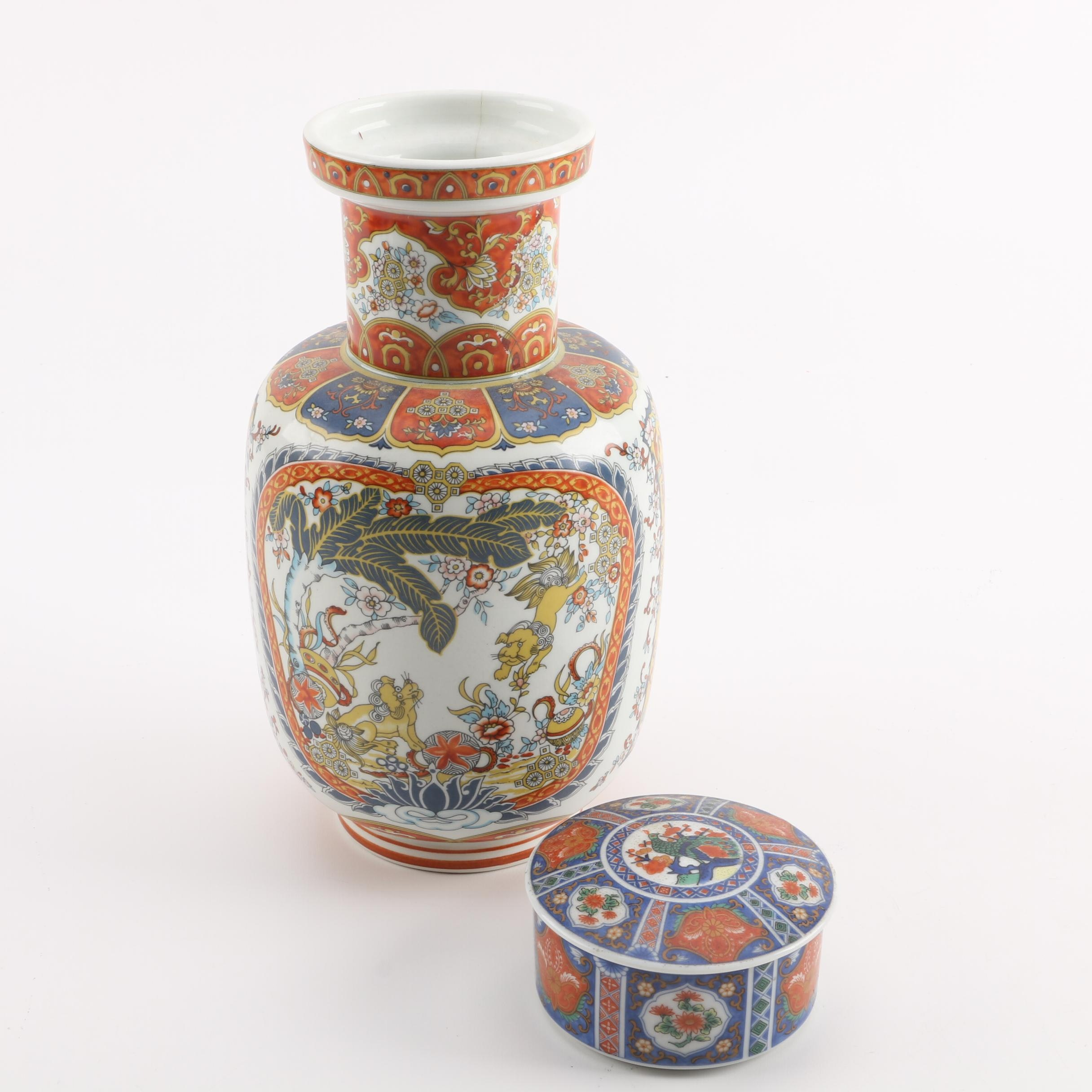 Chinoiserie Ceramic Vase and Japanese Lidded Box