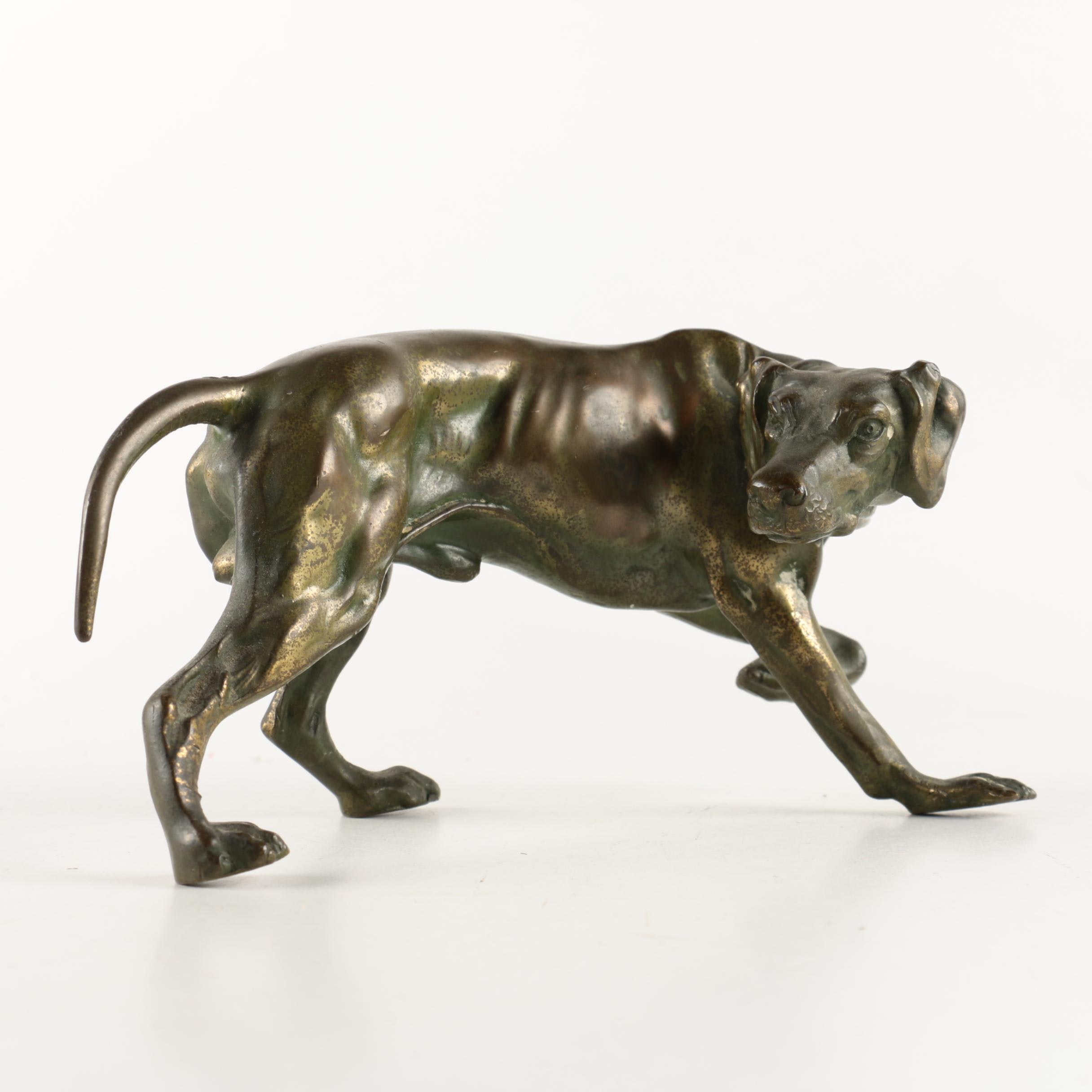Metal Pointer Dog Figurine