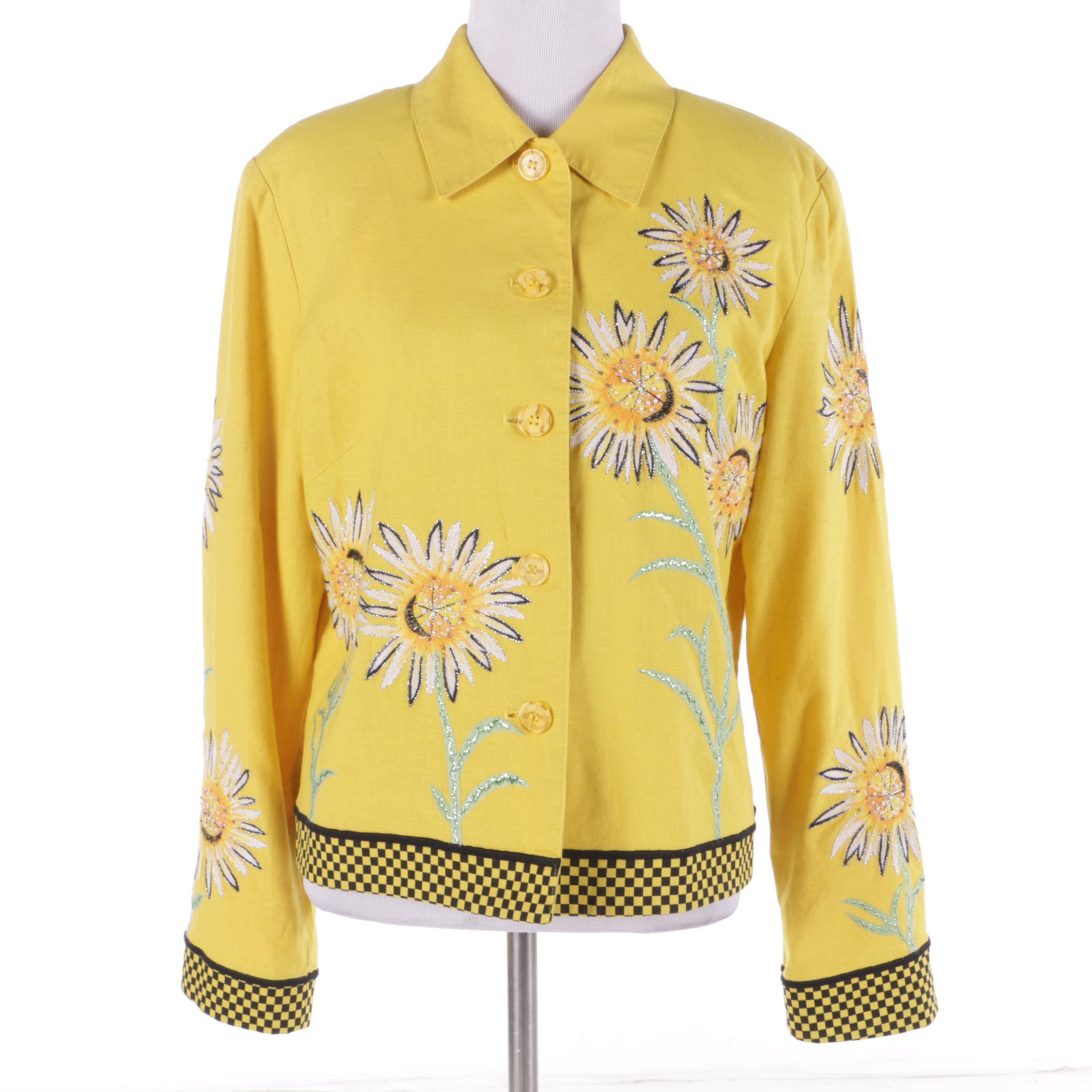 Women's Nouveaux Yellow Linen Blend Jacket