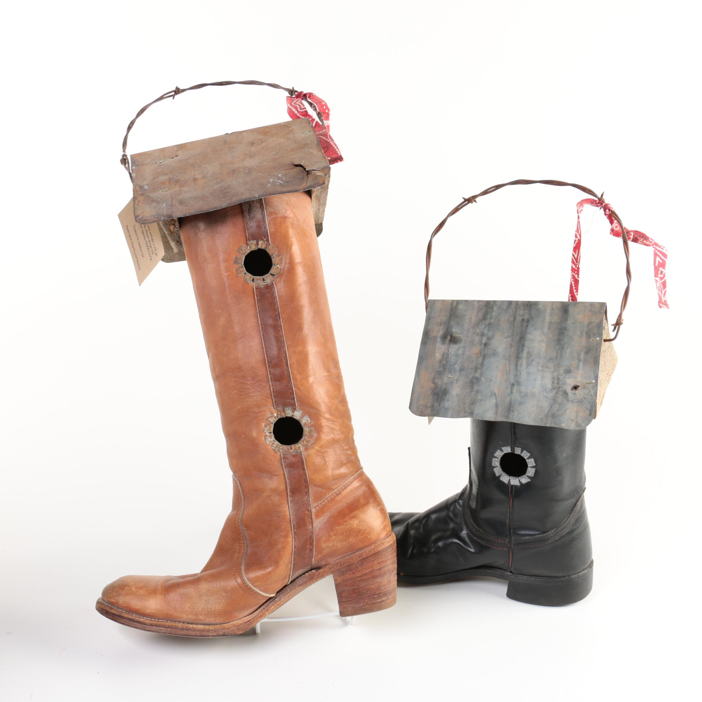 Give 'Em the Boot Recycled Leather Boot Birdhouses