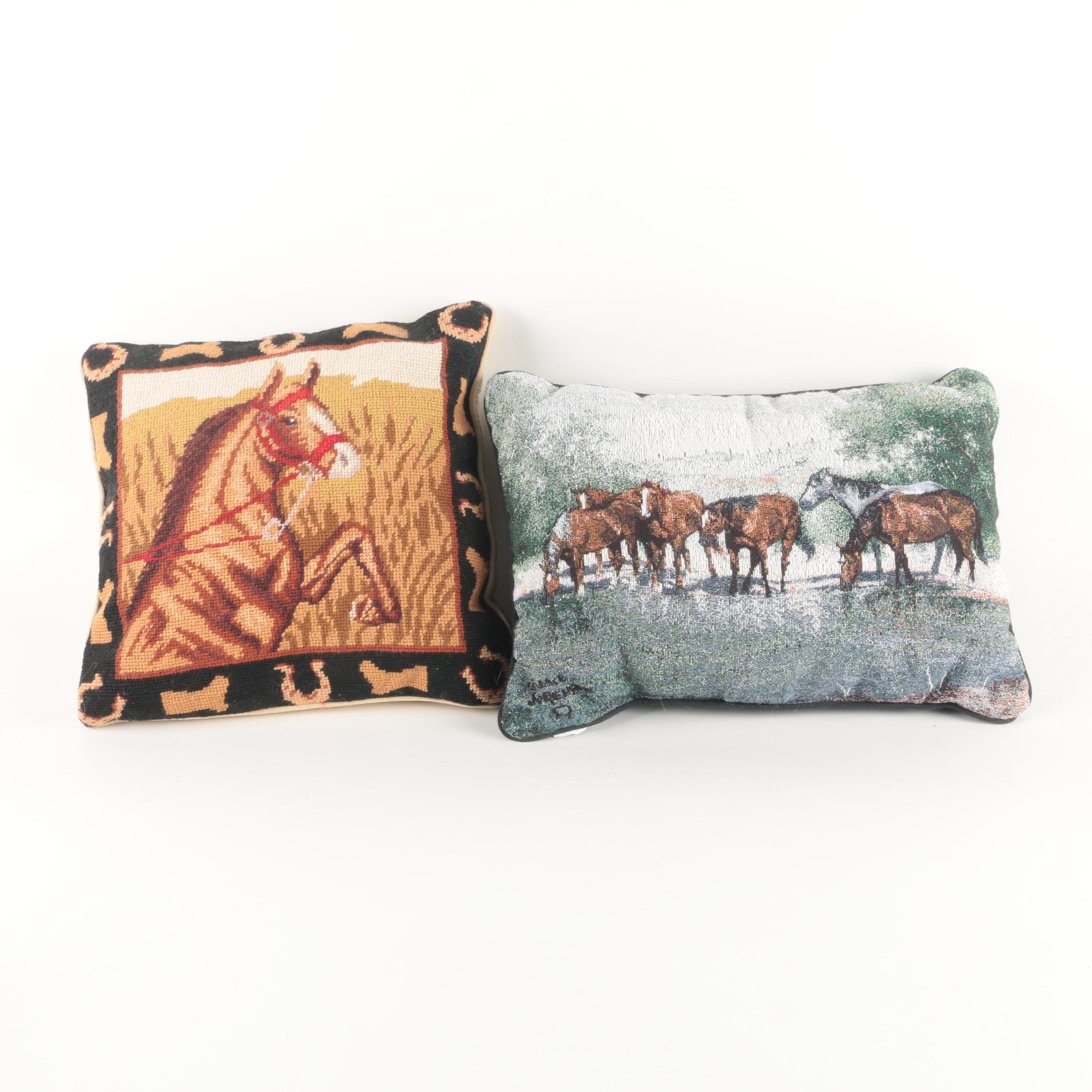 Horse Themed Needlepoint and Tapestry Pillows