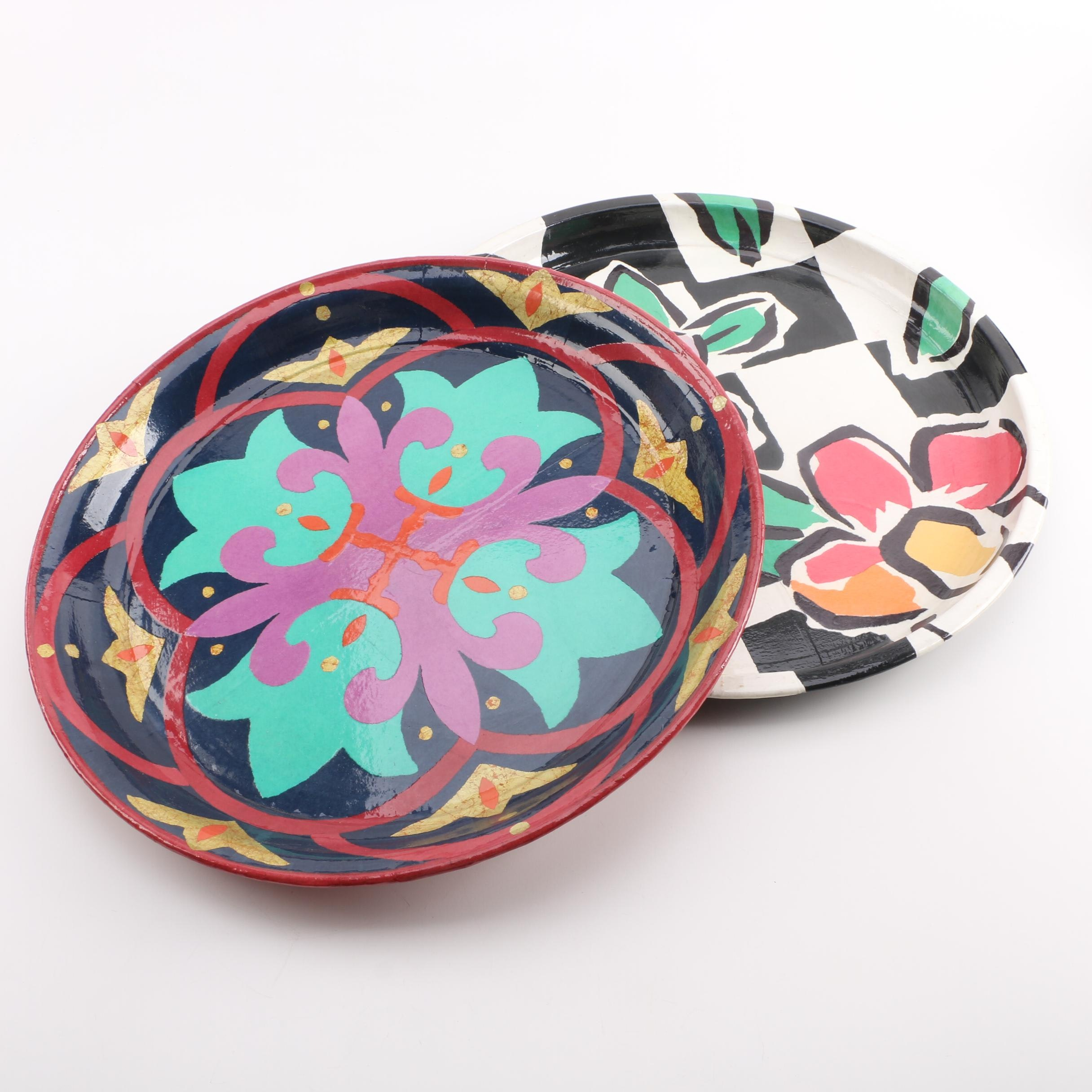 Colorful Decorative Lacquered Plates from Thailand