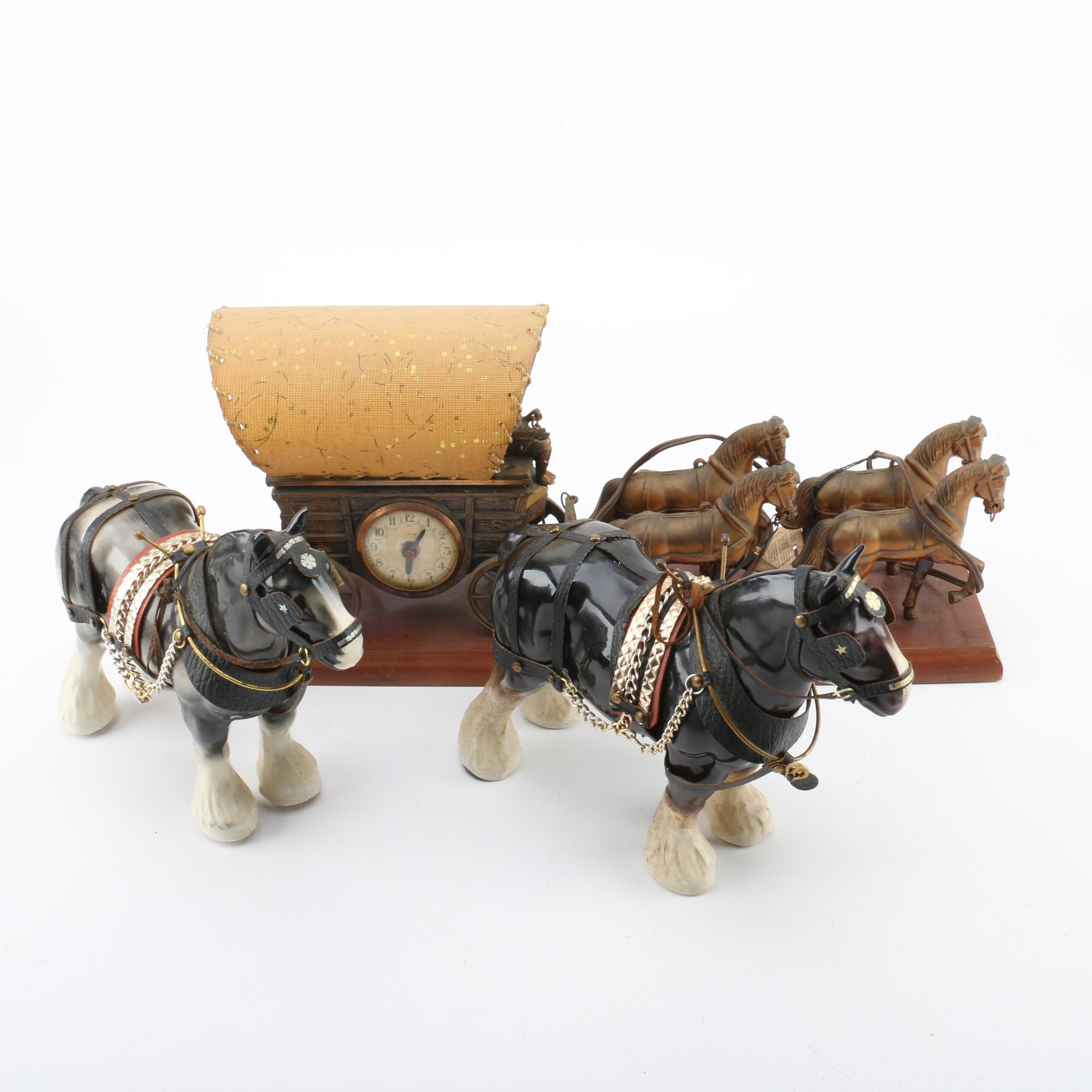 Horse & Carriage Mantle Clock and Horse Figurines