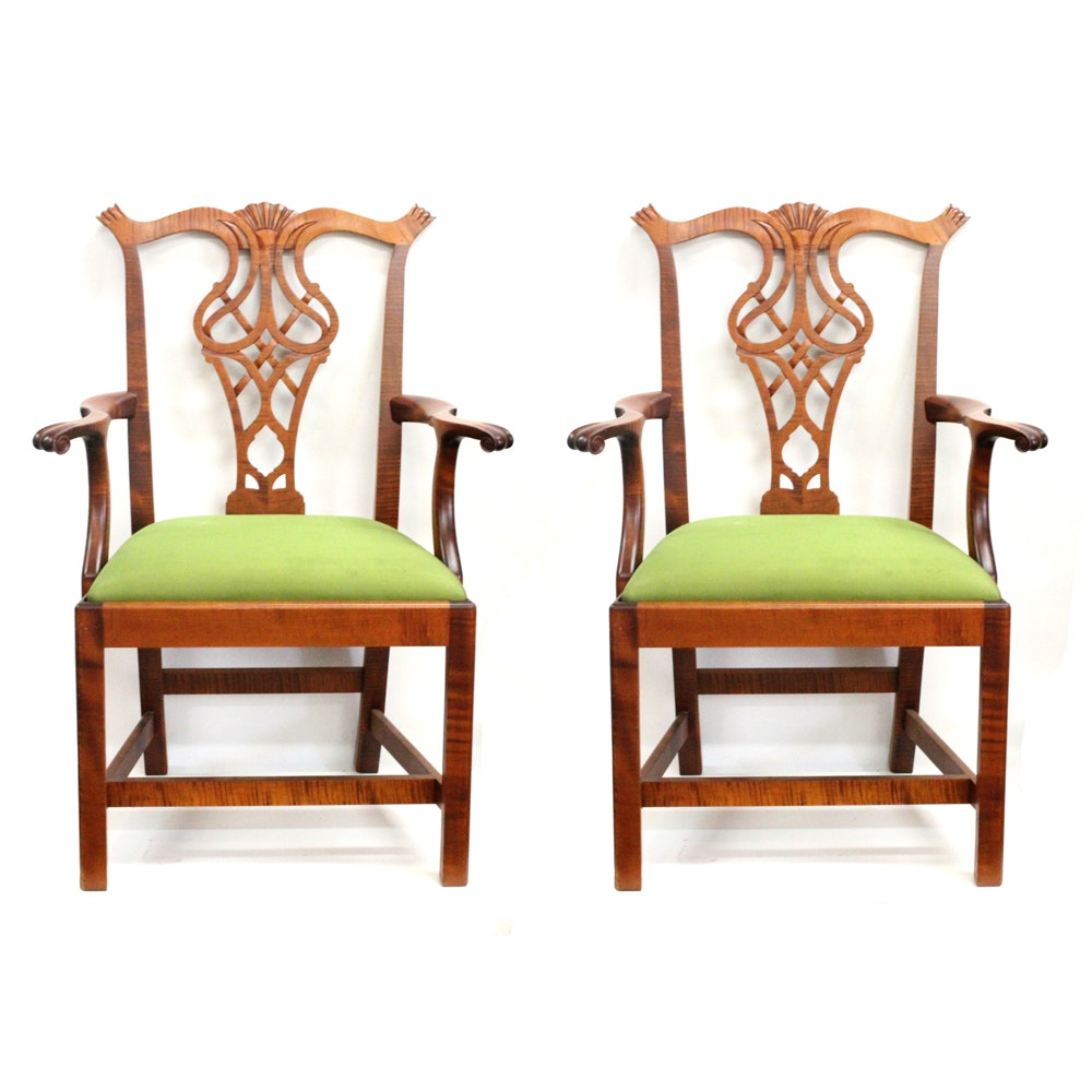 Chippendale Style Tiger Maple Bench Made Chairs ...