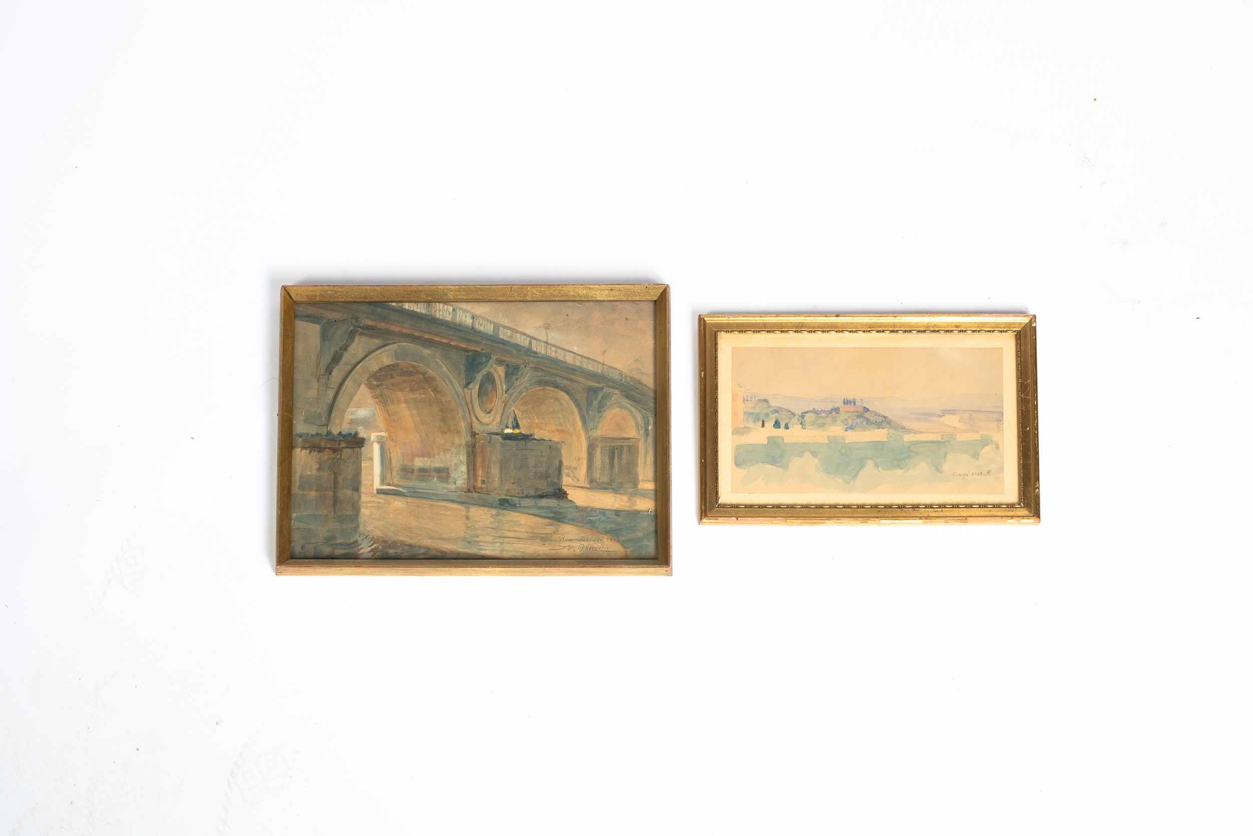 Antique Watercolor Paintings of Rivers Including Knud Sinding