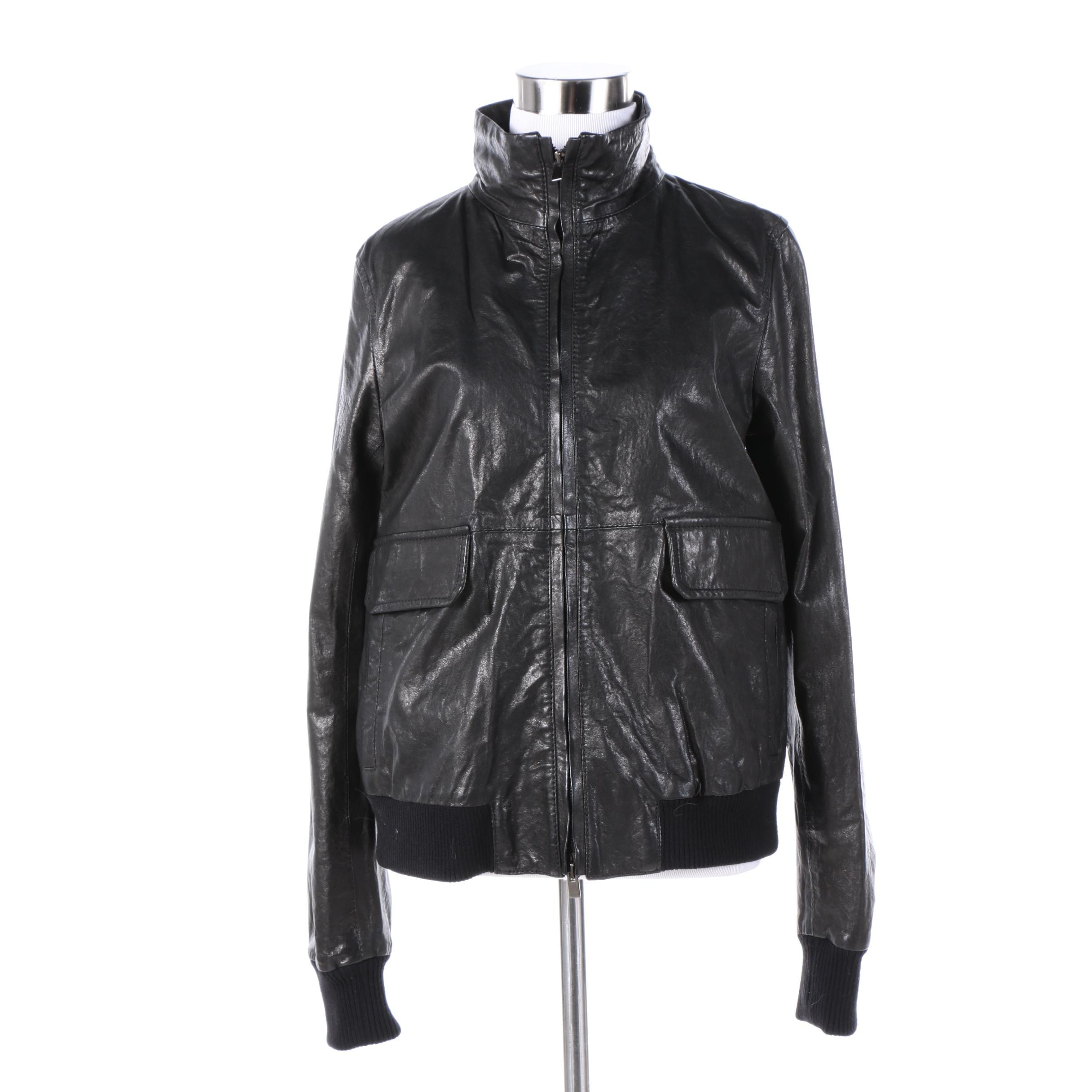 Women's Theory Black Leather Jacket