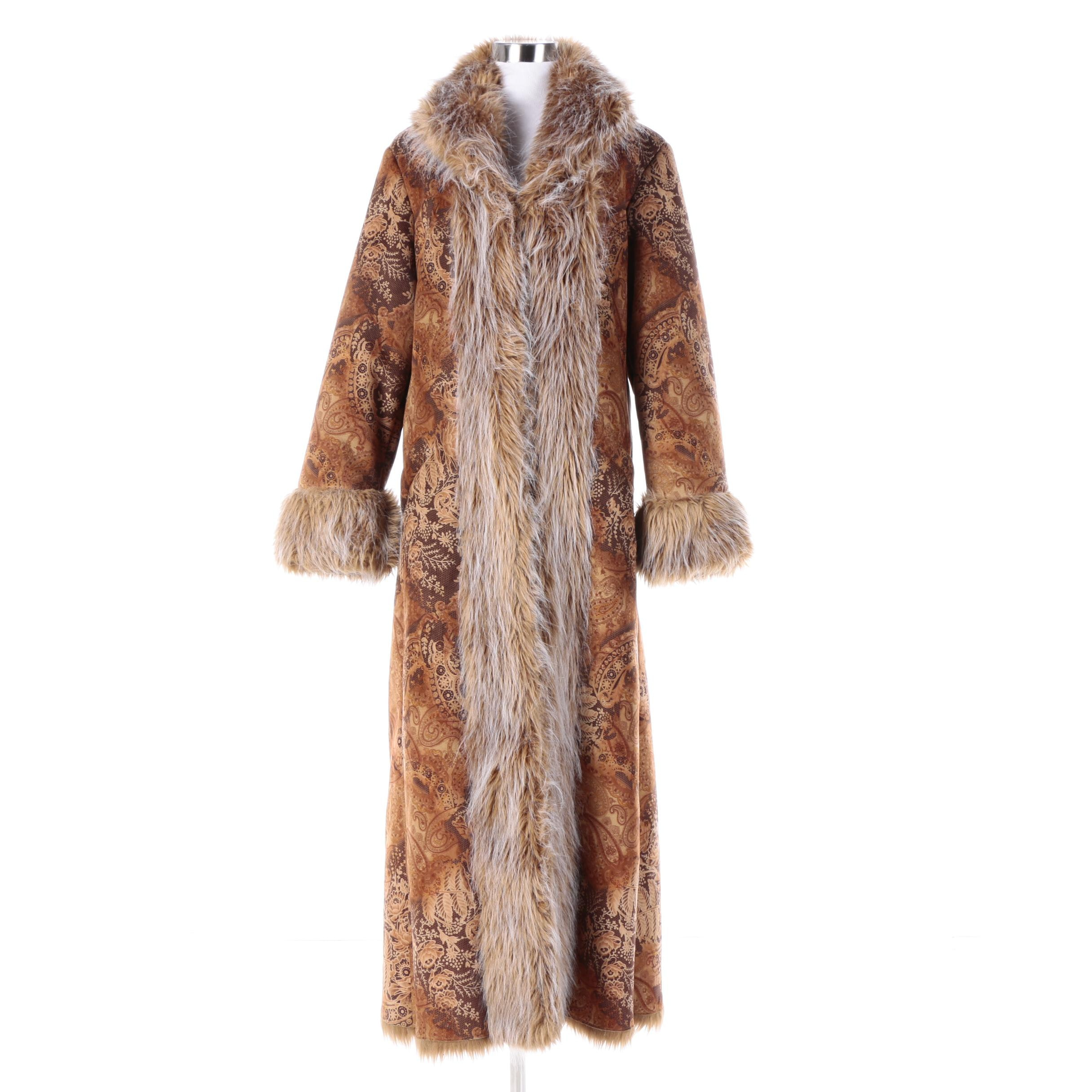 Women's Newport News Paisley Print Coat with Faux Fur Trim