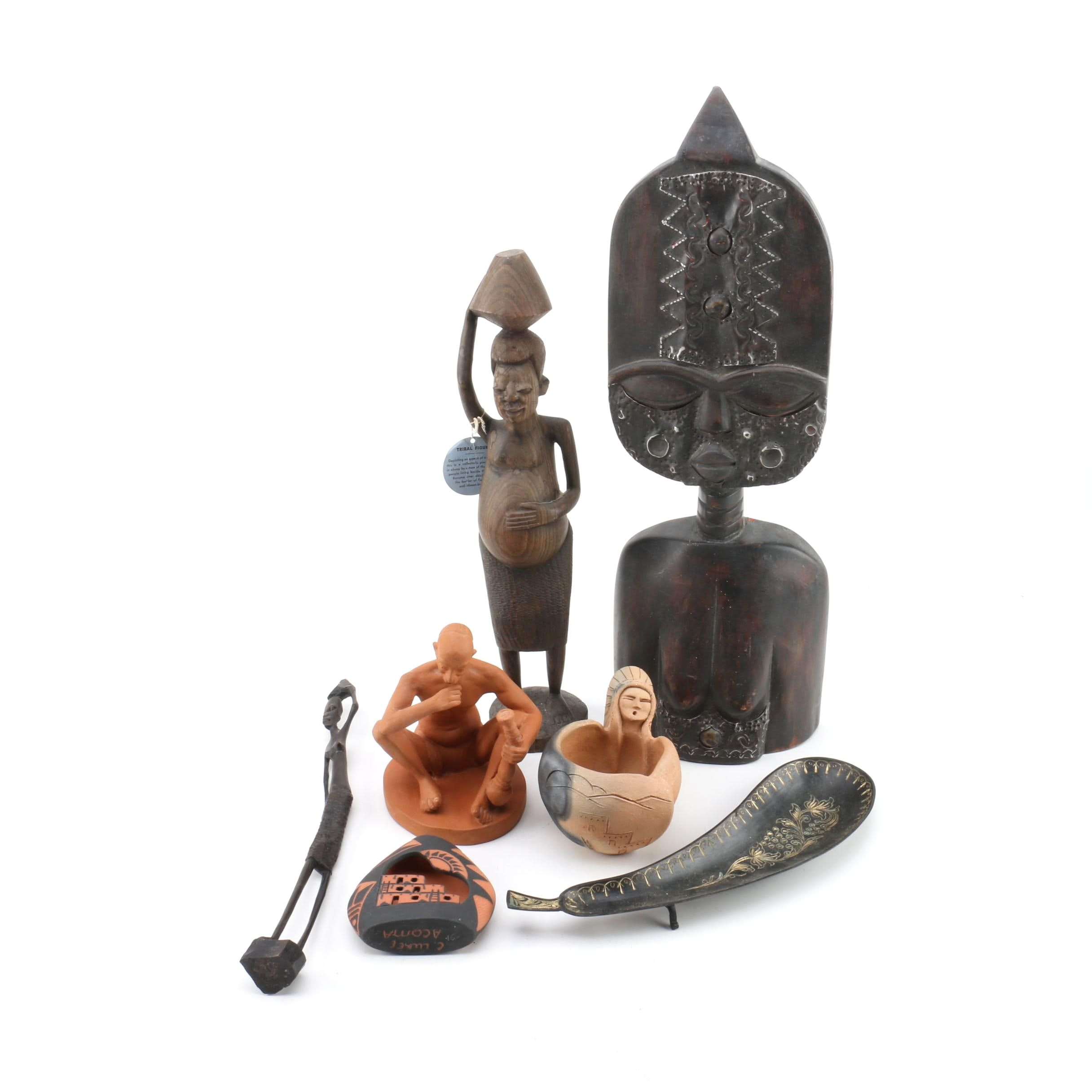 Assortment of Native American and African Style Decor