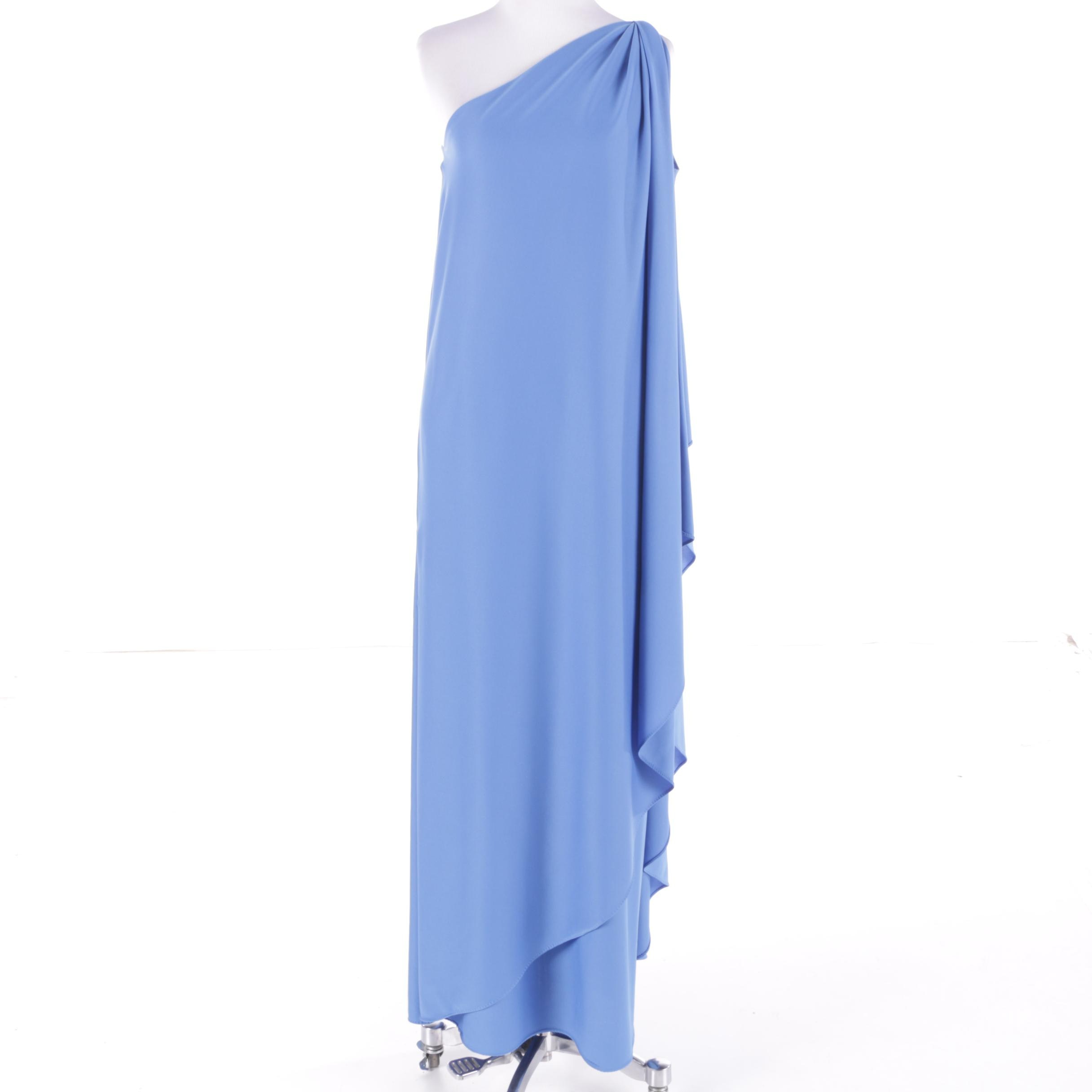 Circa 1970s Vintage Halston IV Sky Blue One-Shoulder Maxi Evening Dress