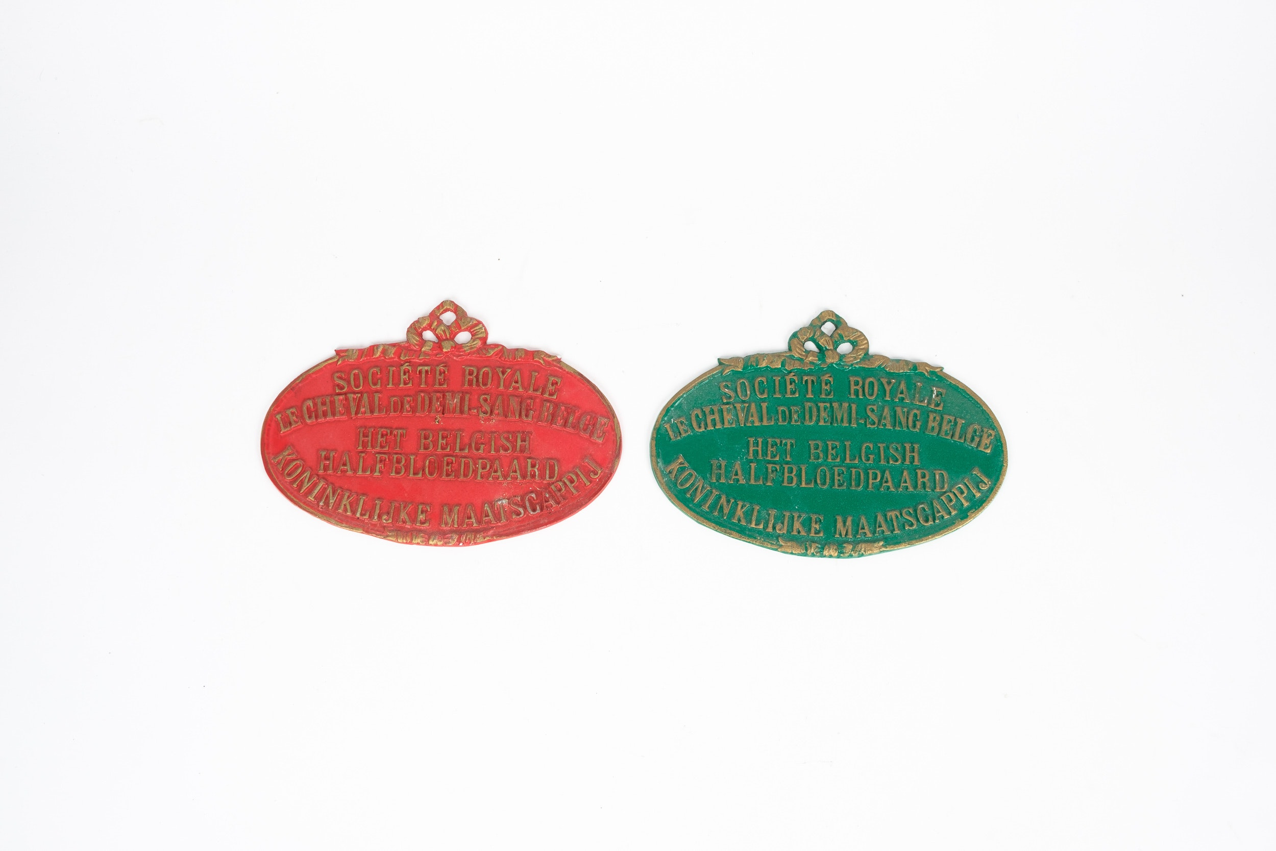 Two Vintage Belgian Horse Carriage Plaques