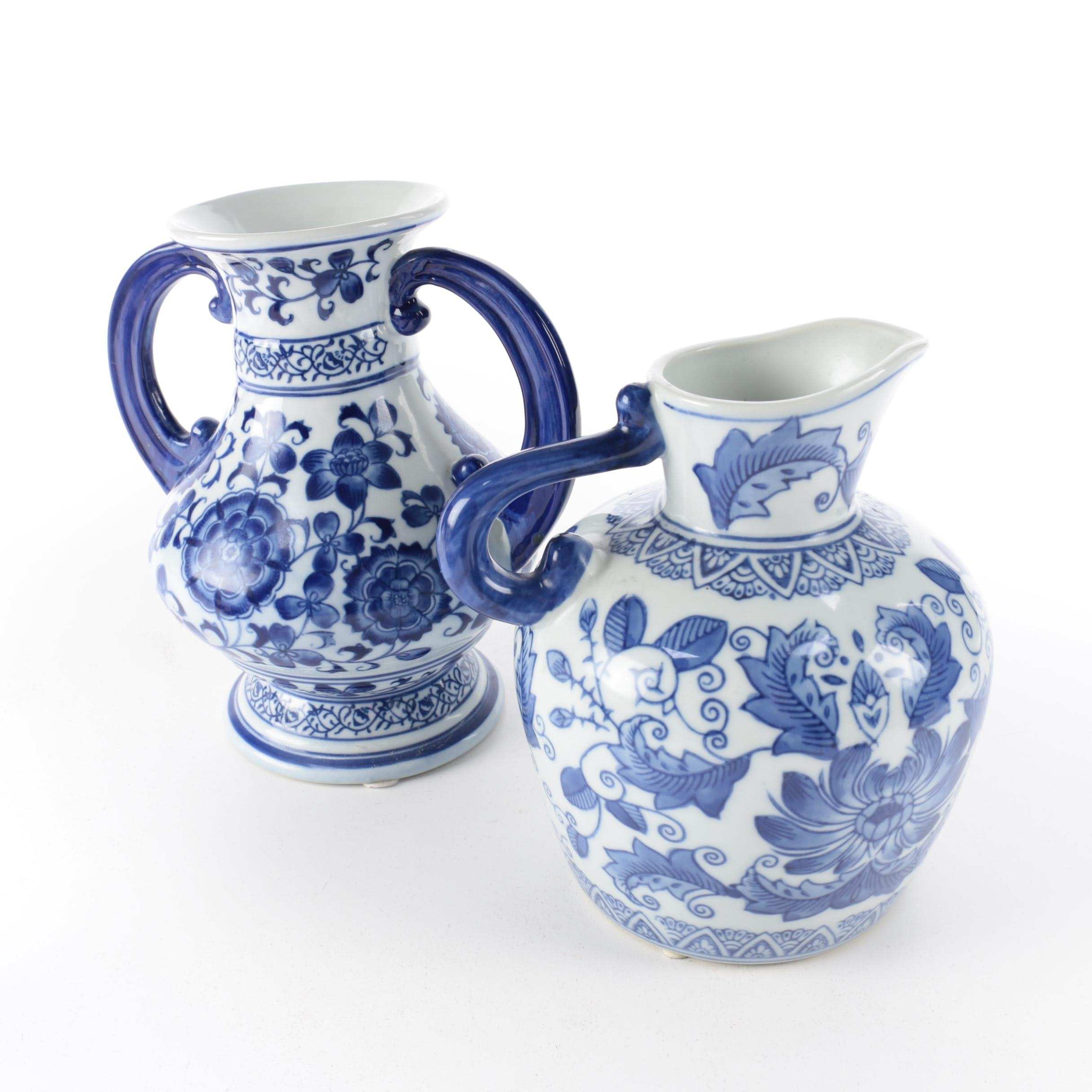 Chinese Blue and White Ceramic Urn and Pitcher