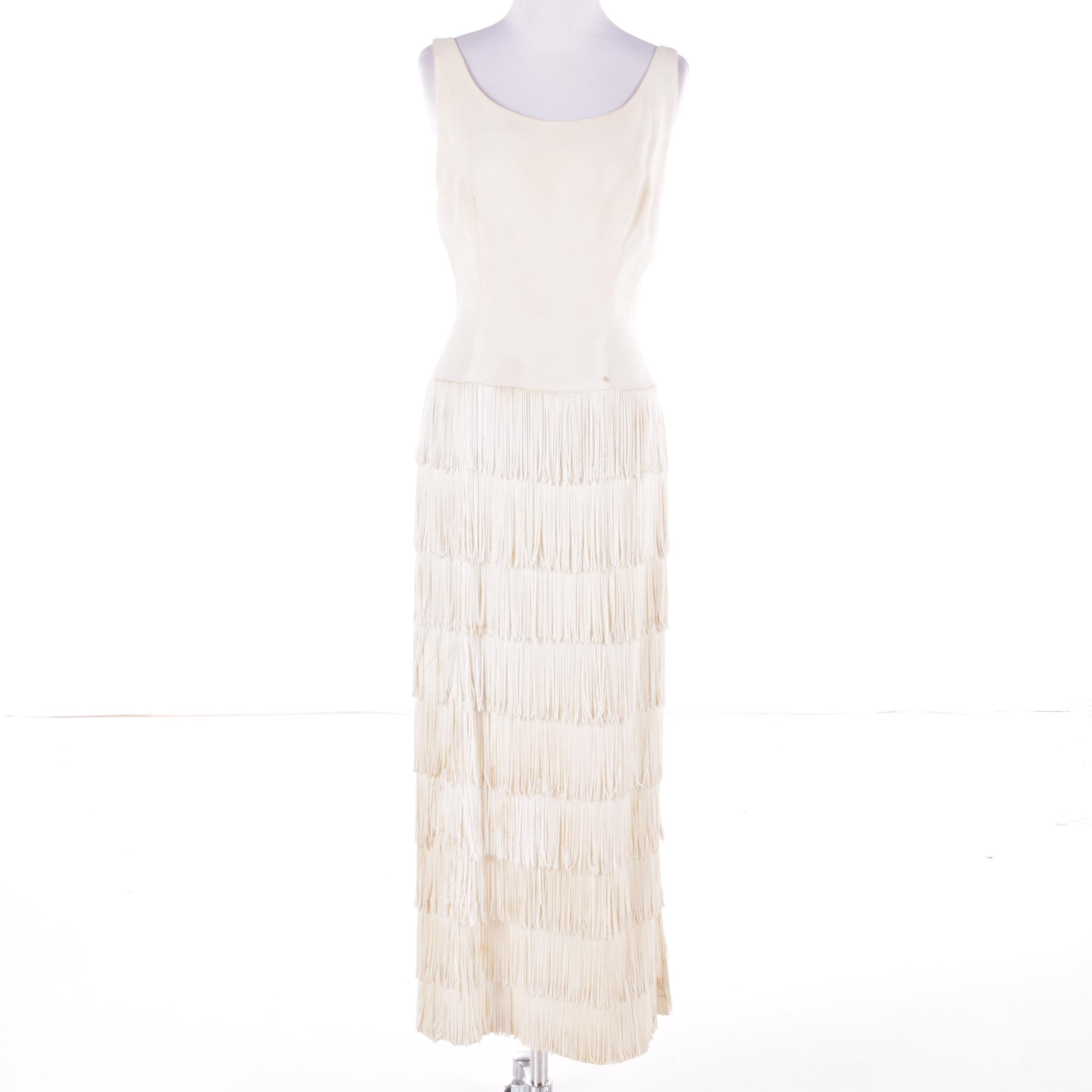 1950s Vintage Ivory Silk Flapper Fringe Sleeveless Evening Dress