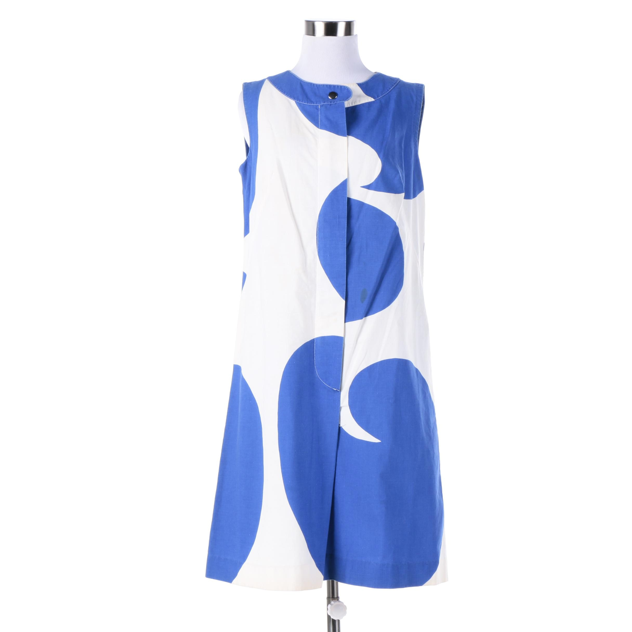 Vintage Marimekko Finland Blue and White Swirl Sleeveless Mod Dress