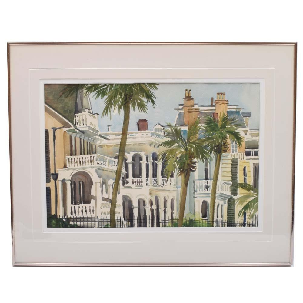 "Margaret Graham Kranking Original Watercolor ""The Battery, Charleston"""