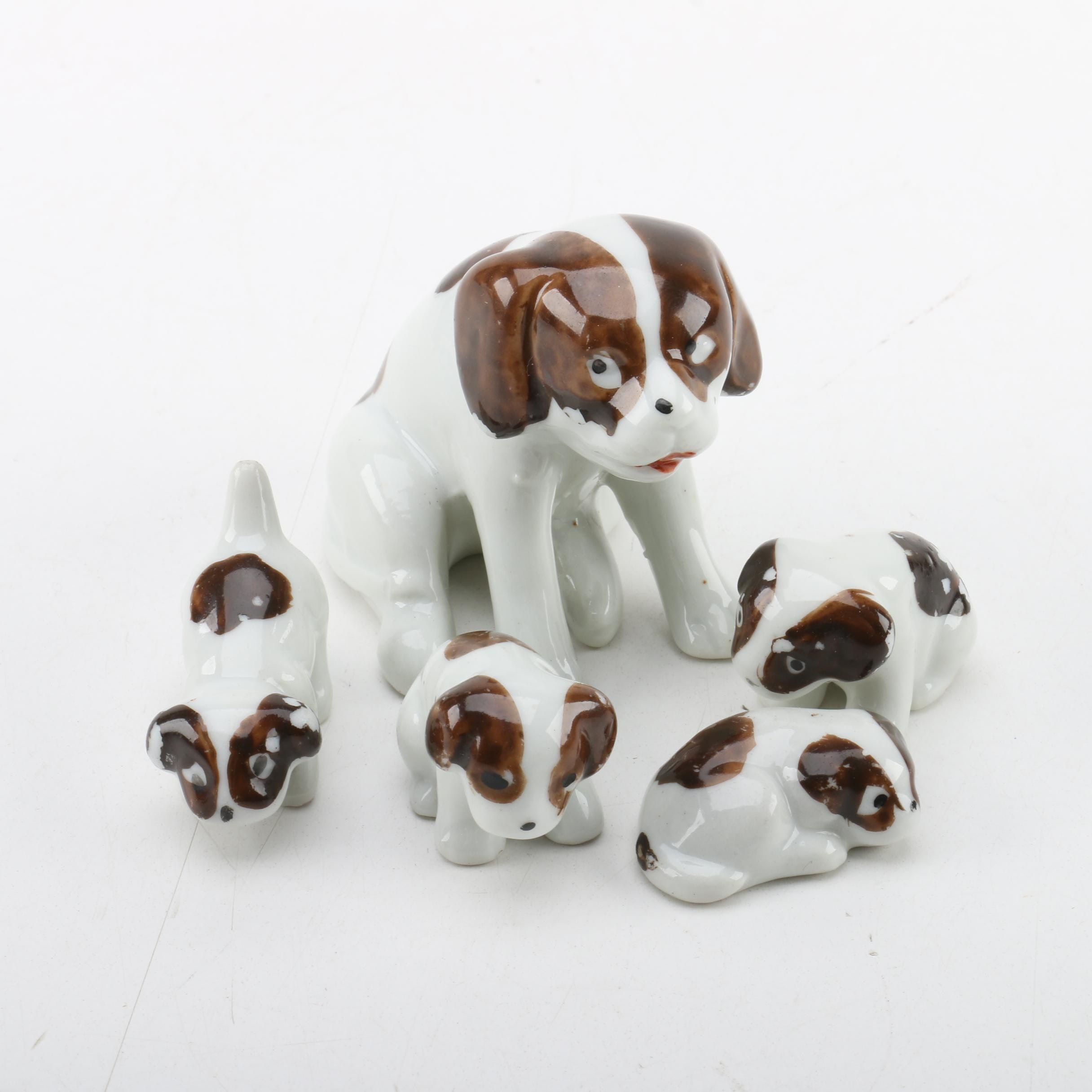 Ceramic Dog and Puppy Figurines from Japan