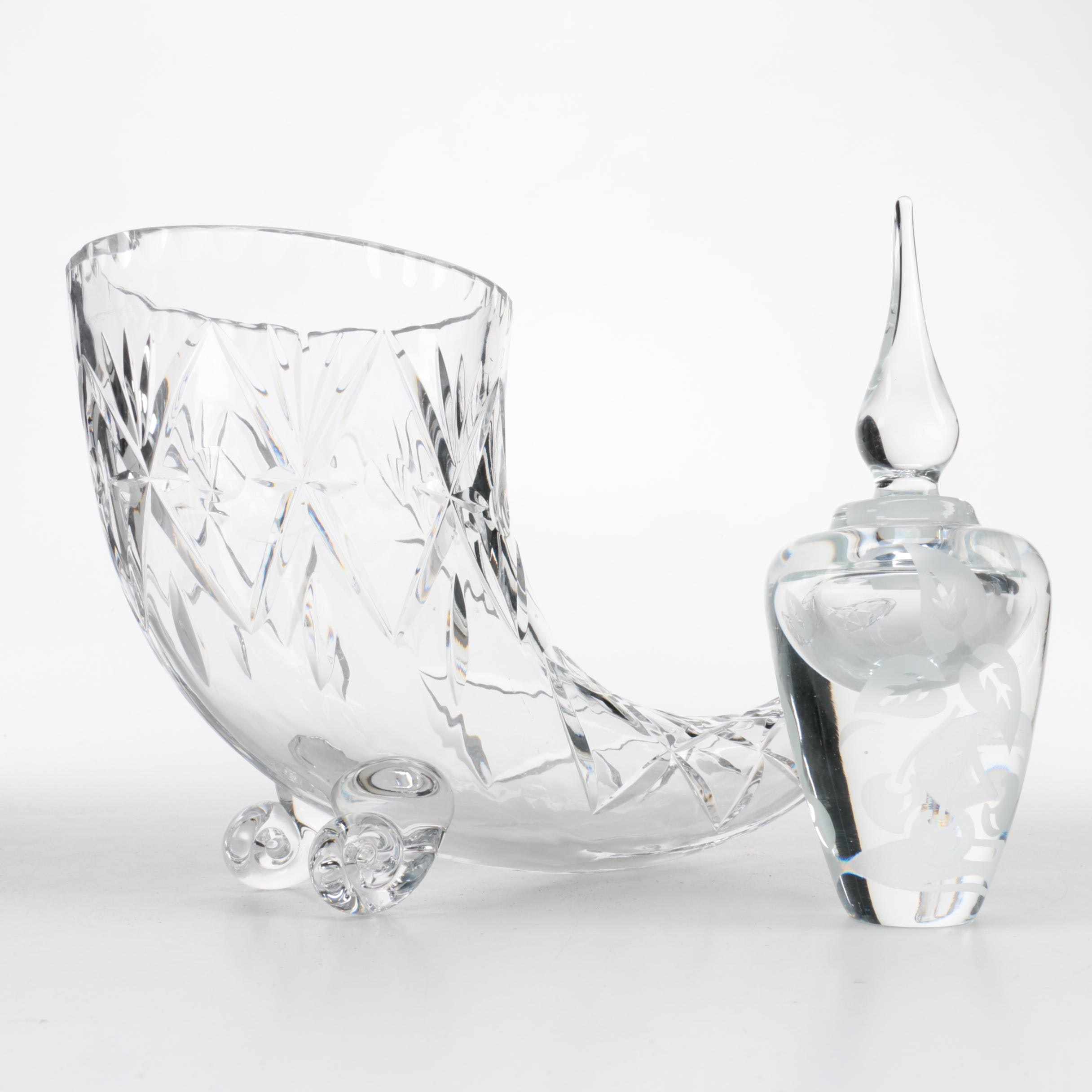 Signed Barry Sautner Glass Perfume Bottle and a Crystal Cornucopia Vase