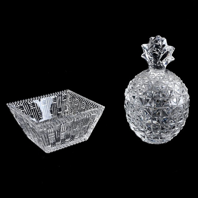 """Tiffany and Co. """"Weave"""" Crystal Bowl and Pineapple Candy Dish"""