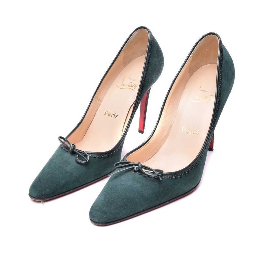 Christian Louboutin of Paris Green Suede Shoes   EBTH 486f64592