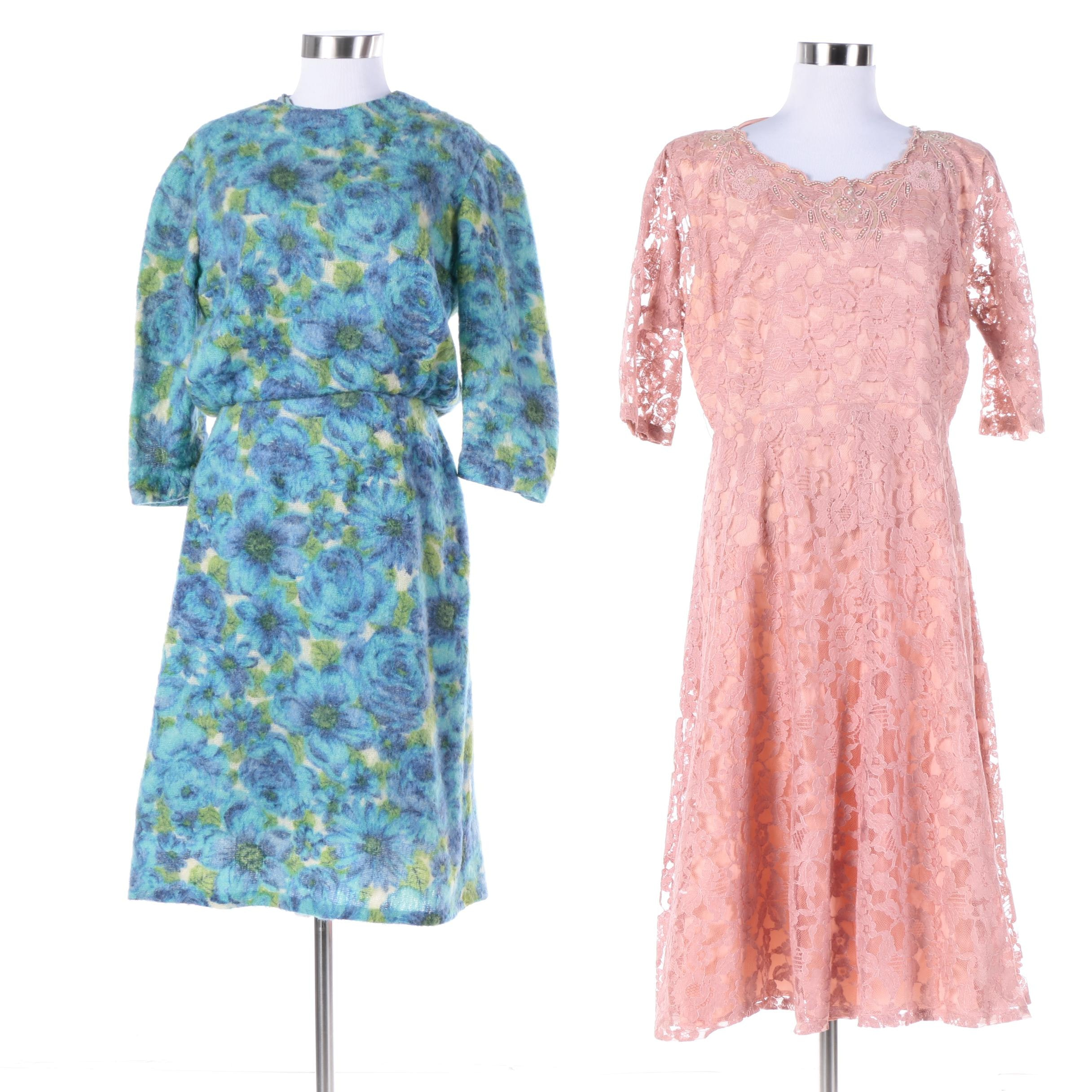 1960s Vintage Pink Lace and Blue Wool Spring Dresses