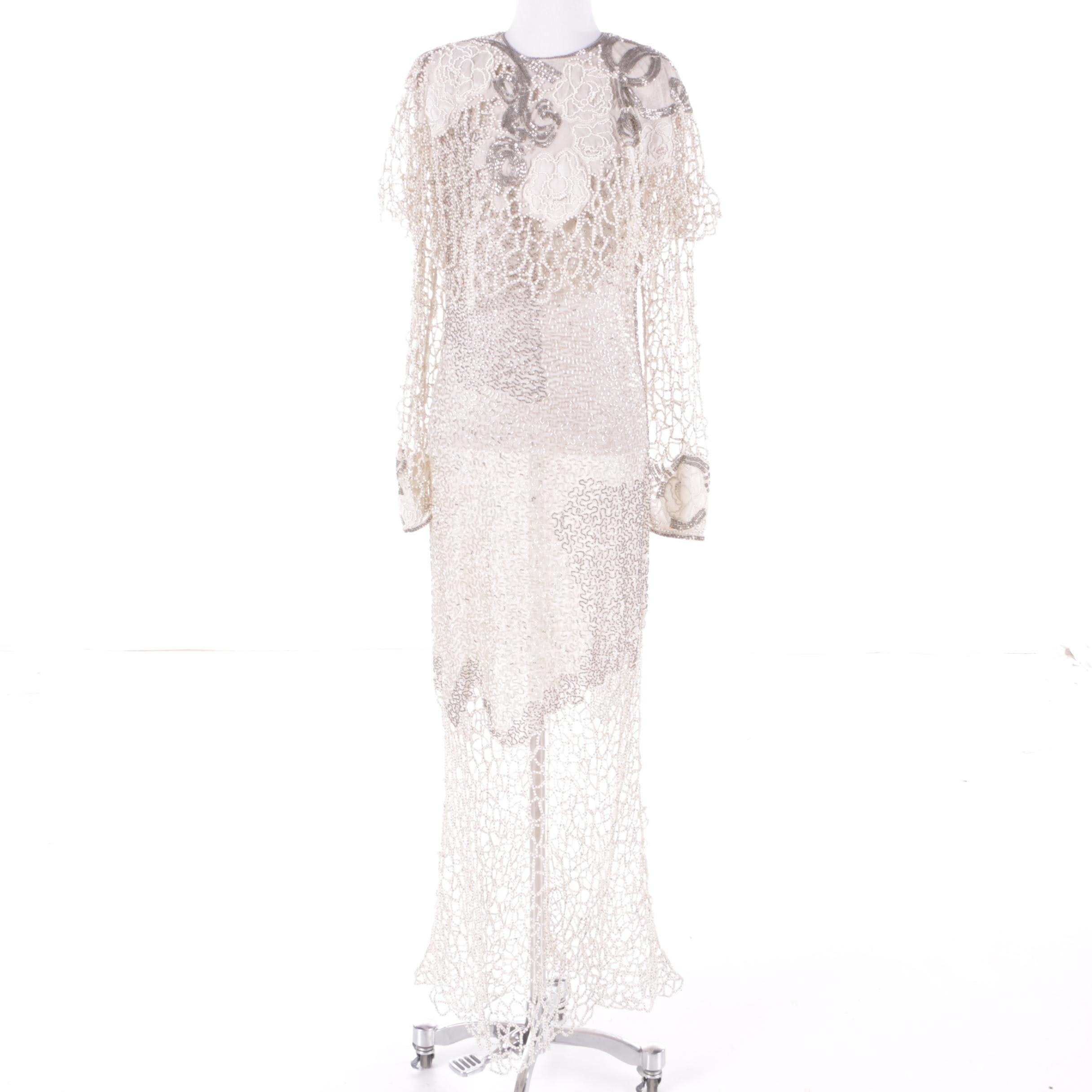 1980s Vintage Riazee Hand Beaded White Silk Dress