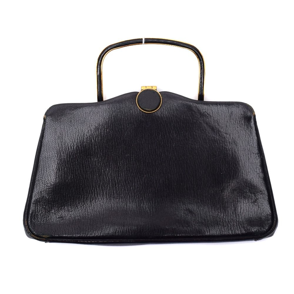 Vintage Judith Leiber Black Leather Convertible Clutch