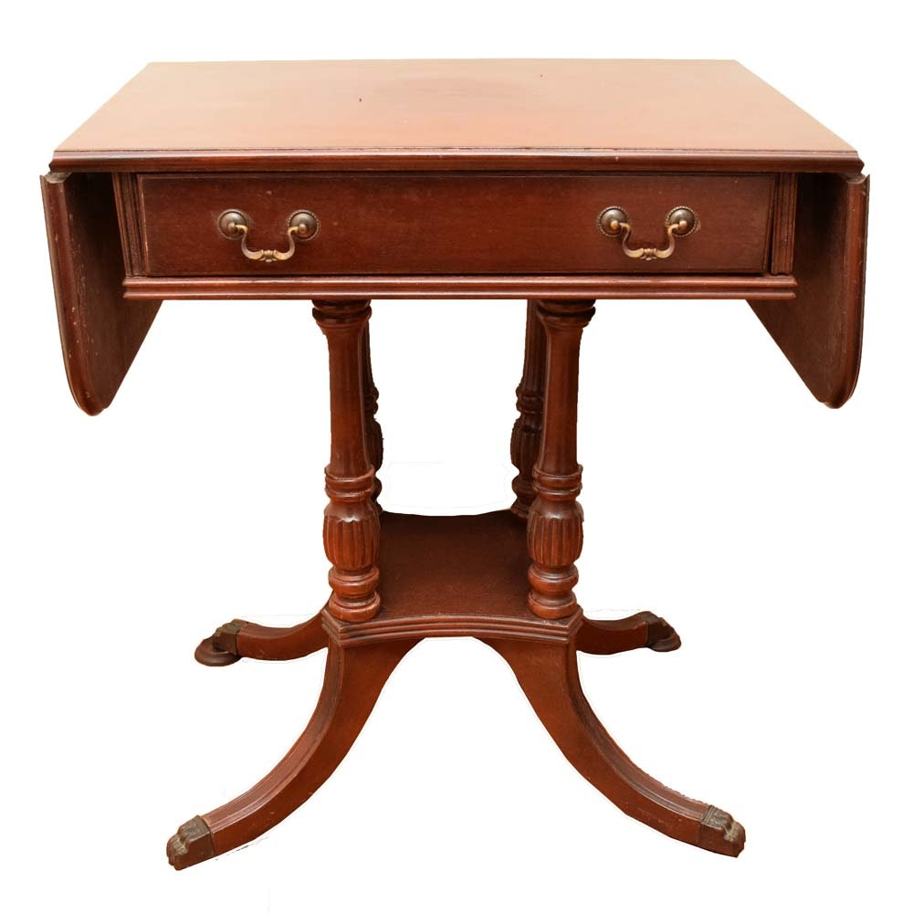 Duncan Phyfe Style Drop Leaf Accent Table